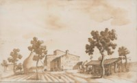 A farm with a haystack and a barn to the left and right, a man standing by a flight of steps