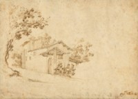 A farmhouse among trees