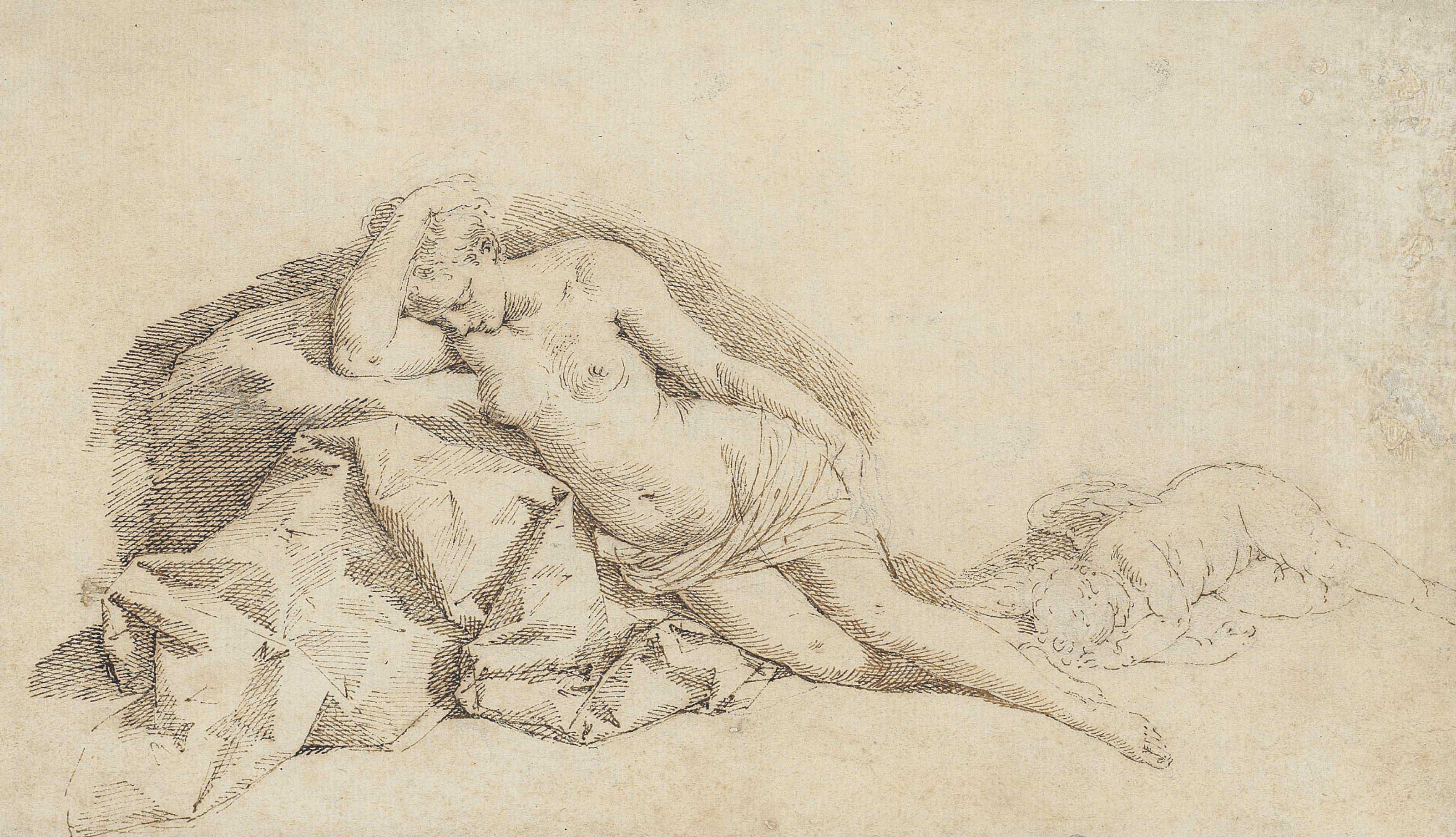 Venus reclining and Cupid asleep (recto); Venus reclining (verso)