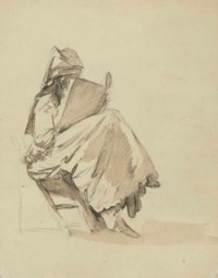 A seated girl reading