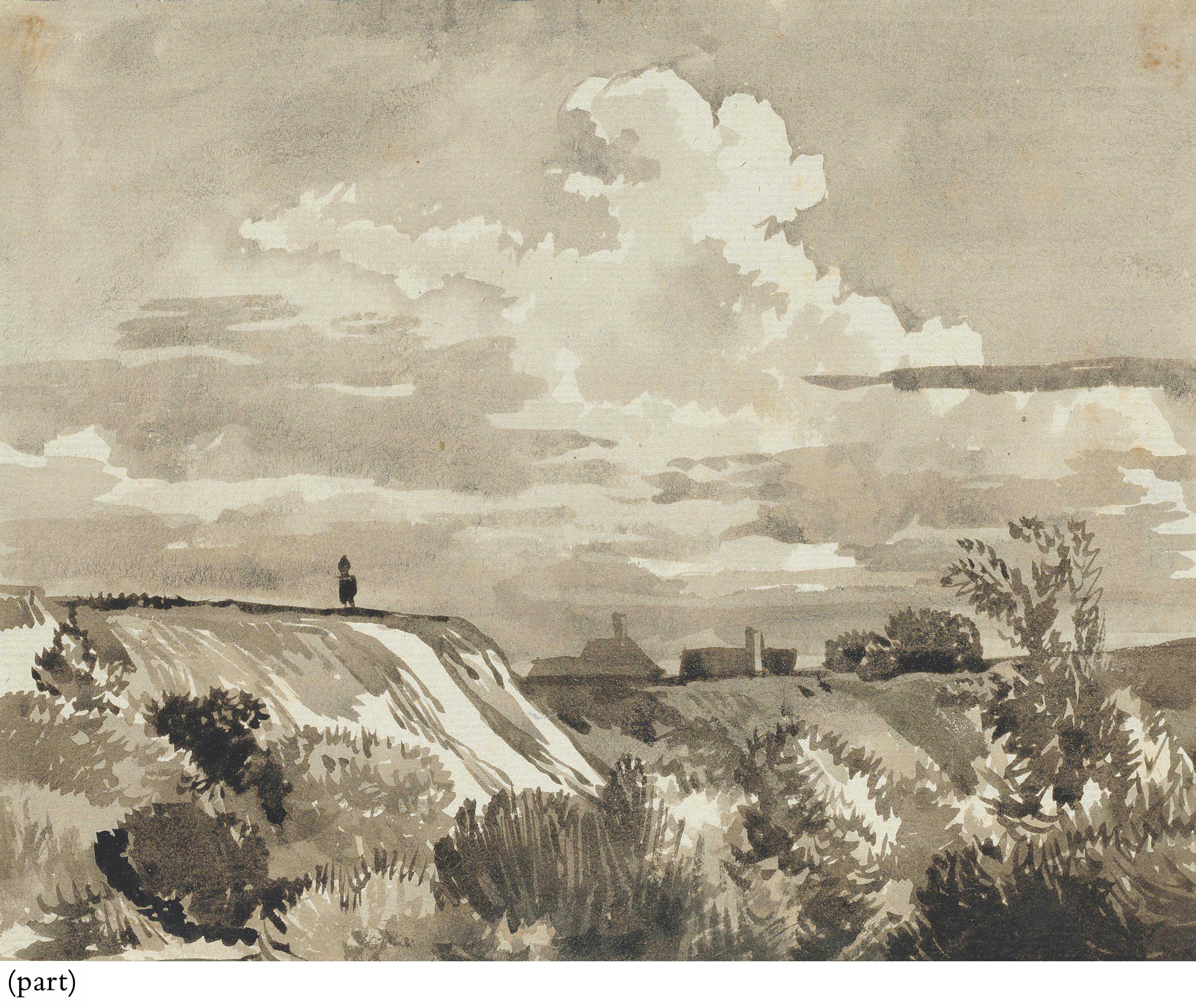 Dunes with houses beyond; A cliff with a village beyond; A cliff with a waterfall; and A cliff with shrubs