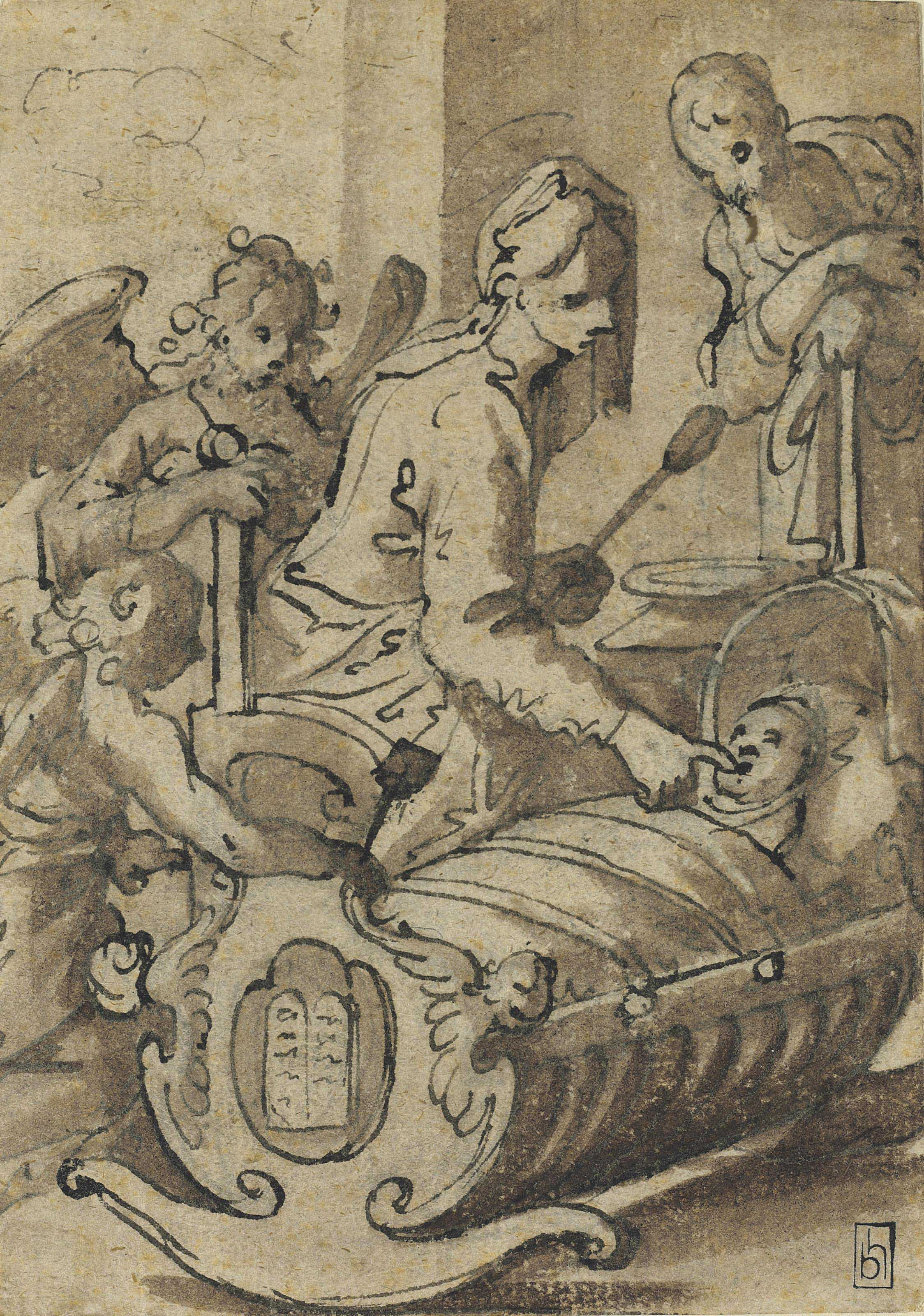The Madonna feeding the Christ Child in a cradle, with Saint Joseph and attendant angels (recto); Study of a procession (verso)