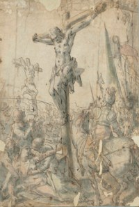 The Crucifixion with the two thieves (recto); Sketches of figures (verso, visible through the paper)