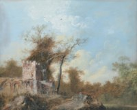 Travellers in a wooded landscape, a building with a tower to the left