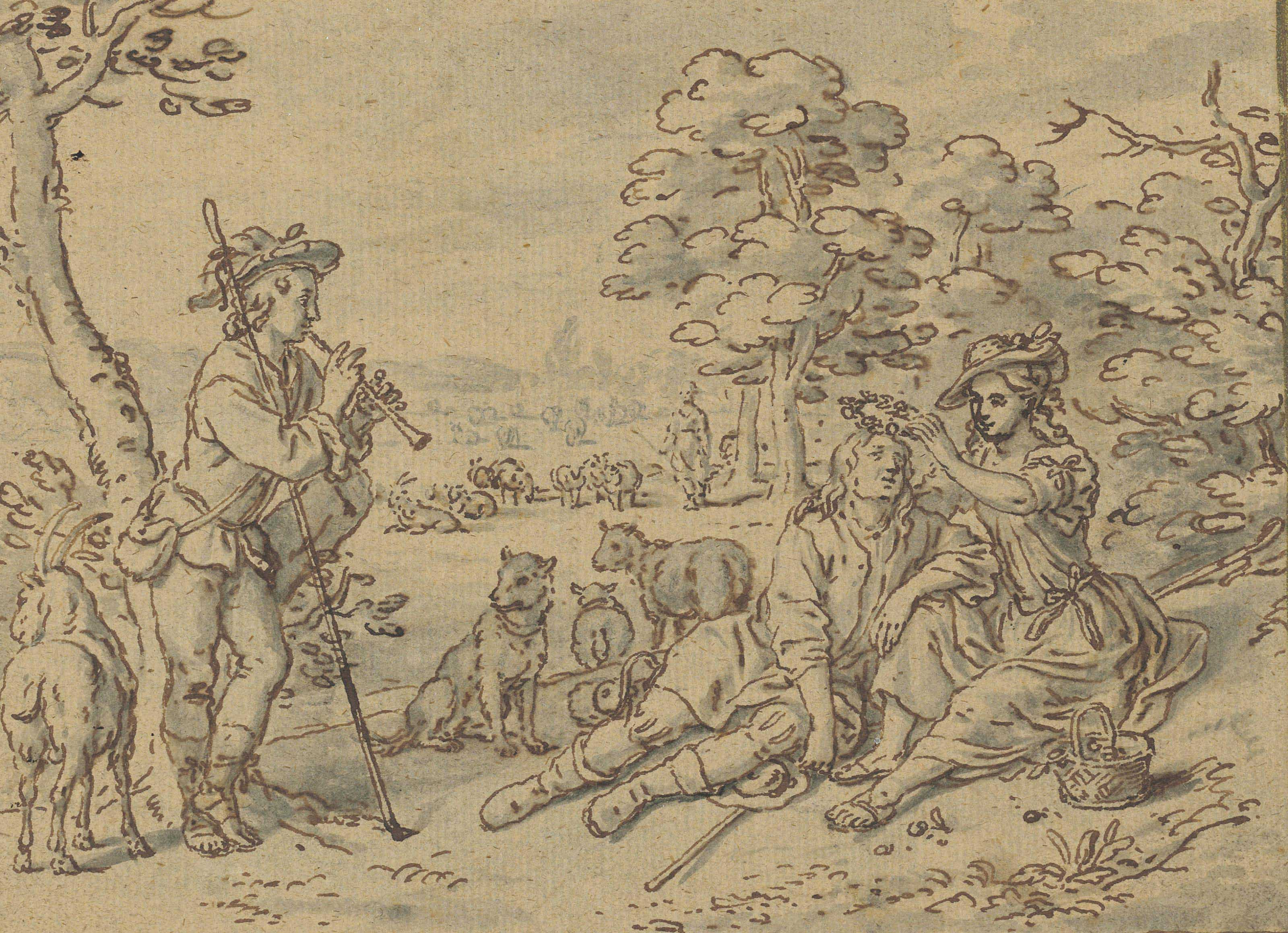 A shepherdess garlanding her swain, a young man playing a pipe