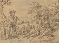 A shepherdess garlanding her swain, a young man playing a pipe