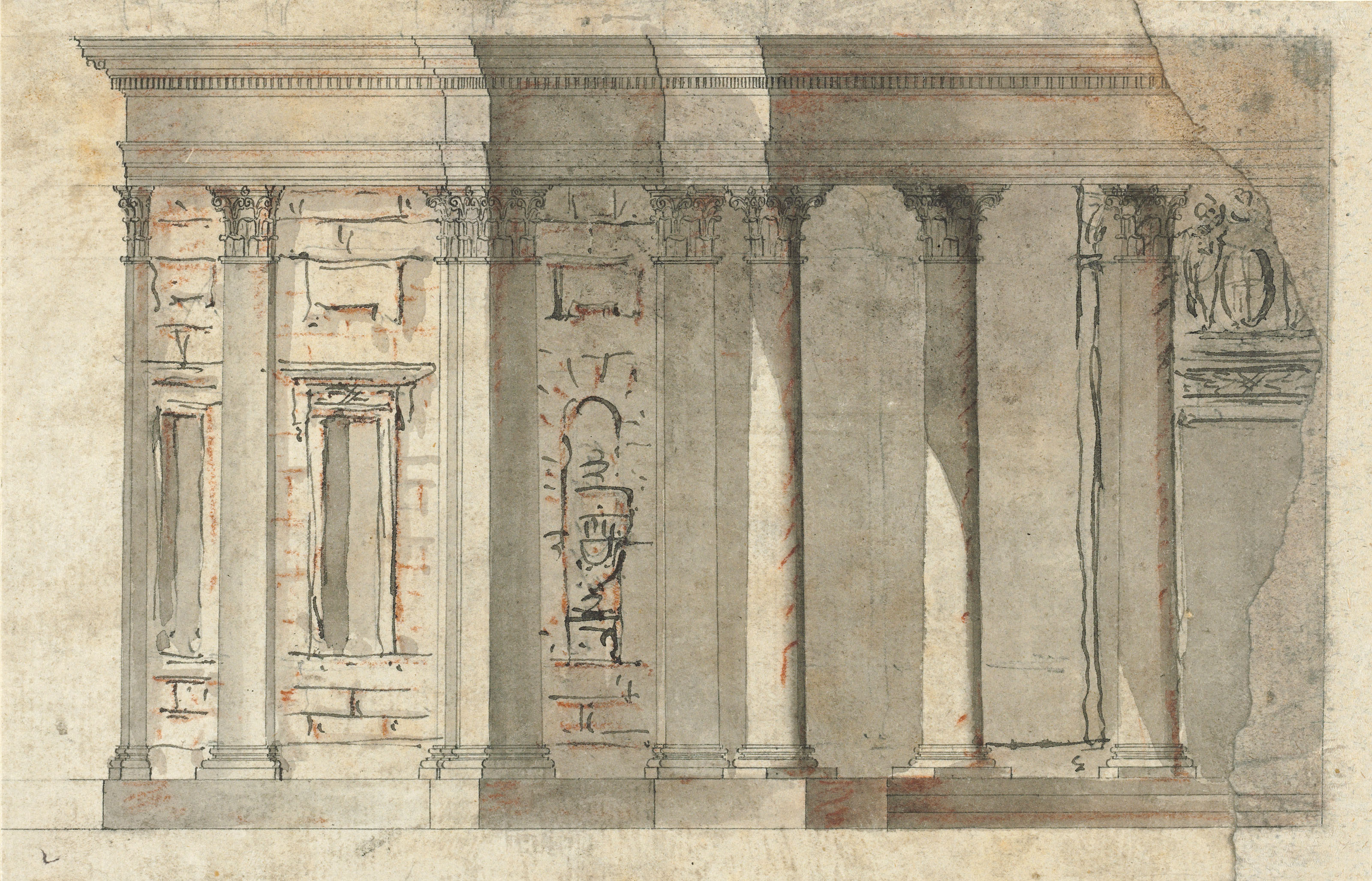 A group of studies, including two of classical heads, and architectural and decorative schemes