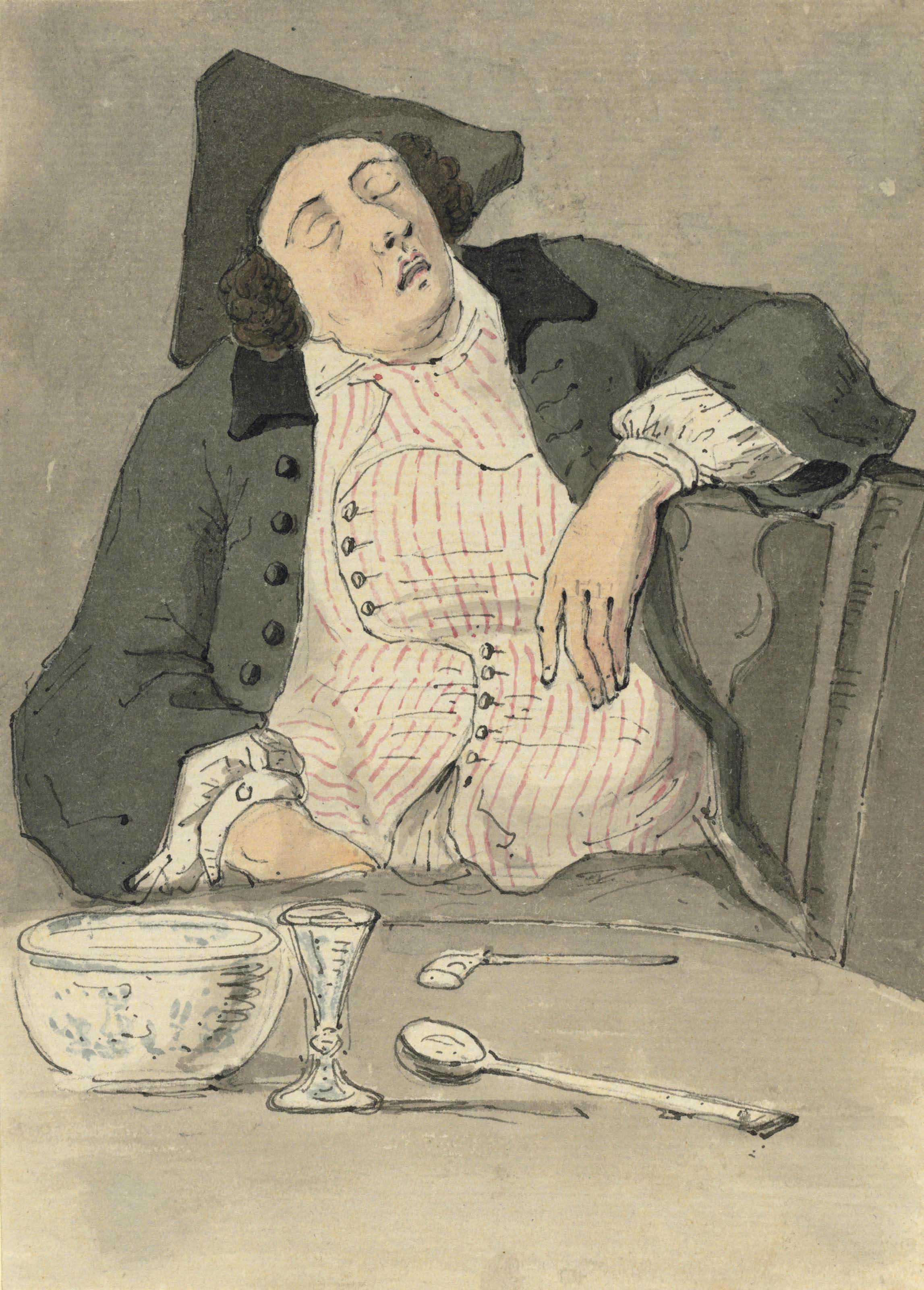 Study of a gentleman asleep at a table (illustrated); Study of Molly Doyle with a tankard; Study of a seated woman with a tankard; and Study of head-dresses at Covent Garden