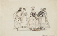 Elegant figures dancing at Niton, Isle of Wight