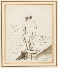 Sketch of Munro of Novar bathing at Brighton