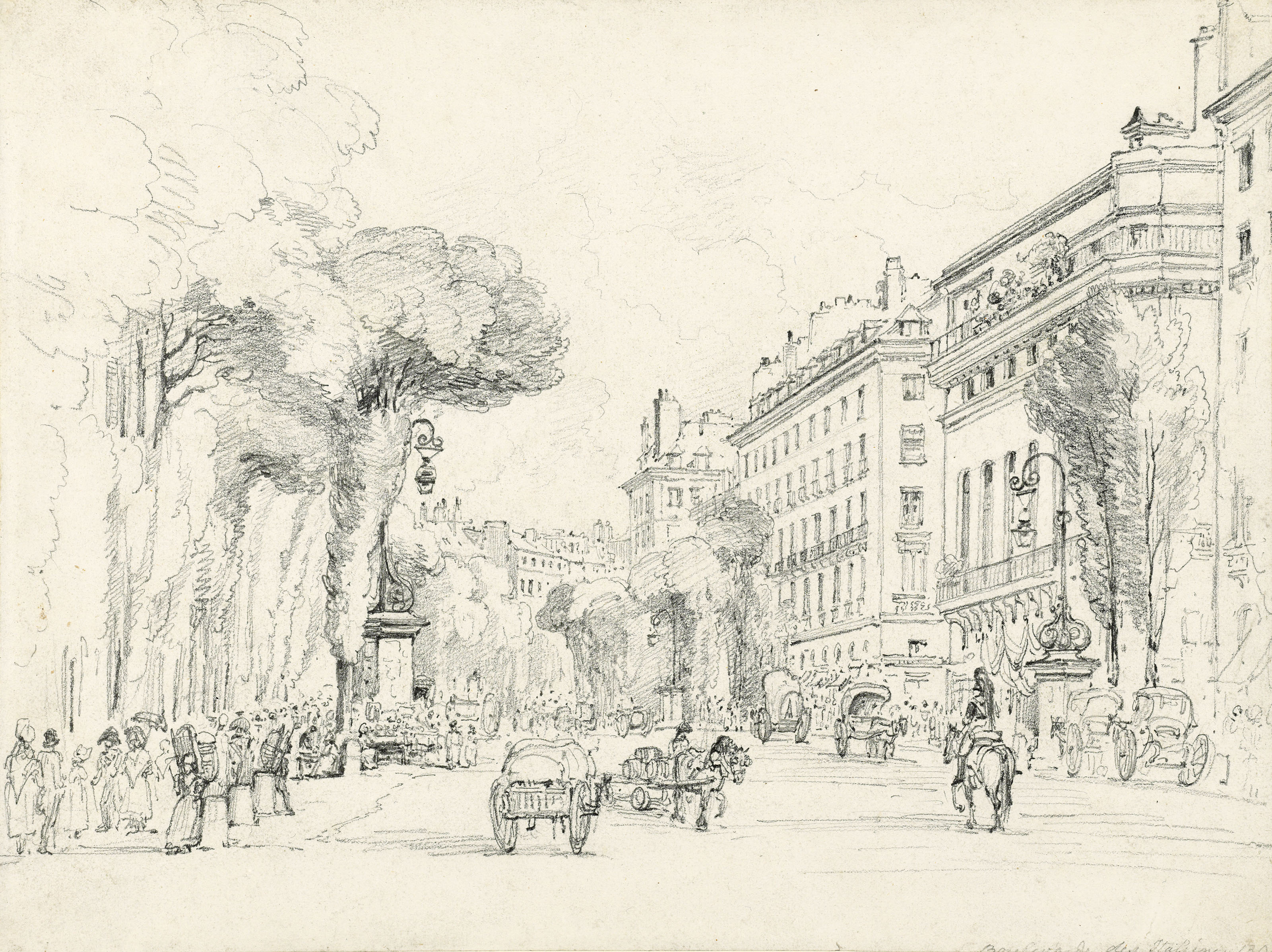 Two studies of the Boulevard des Italiens, Paris