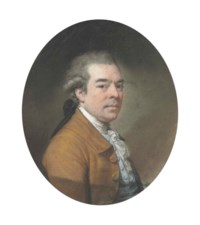 Portrait of Christopher Norton (circa 1740-1799), small half-length, in a brown coat and blue waistcoat