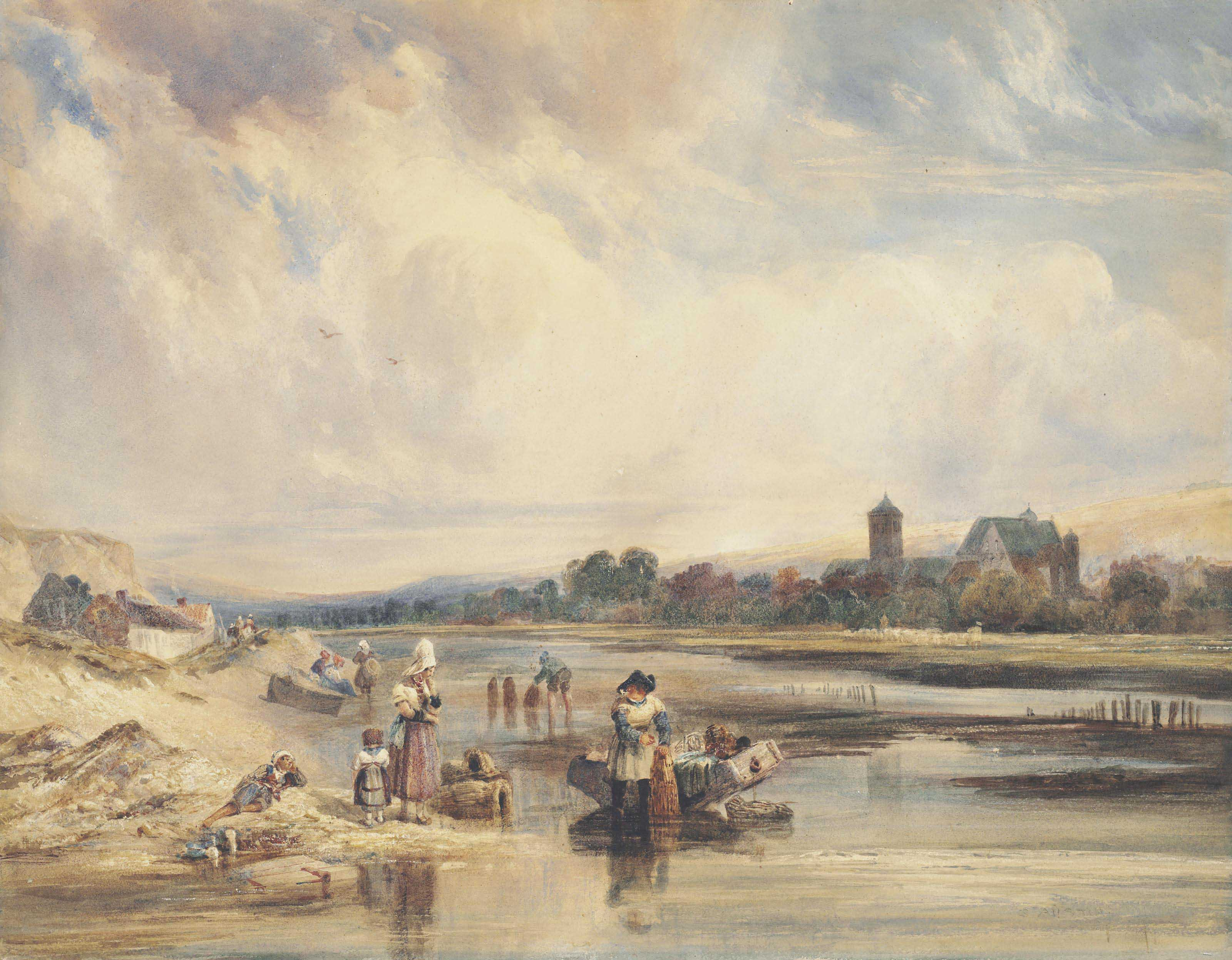 Figures on a riverbank checking eel traps