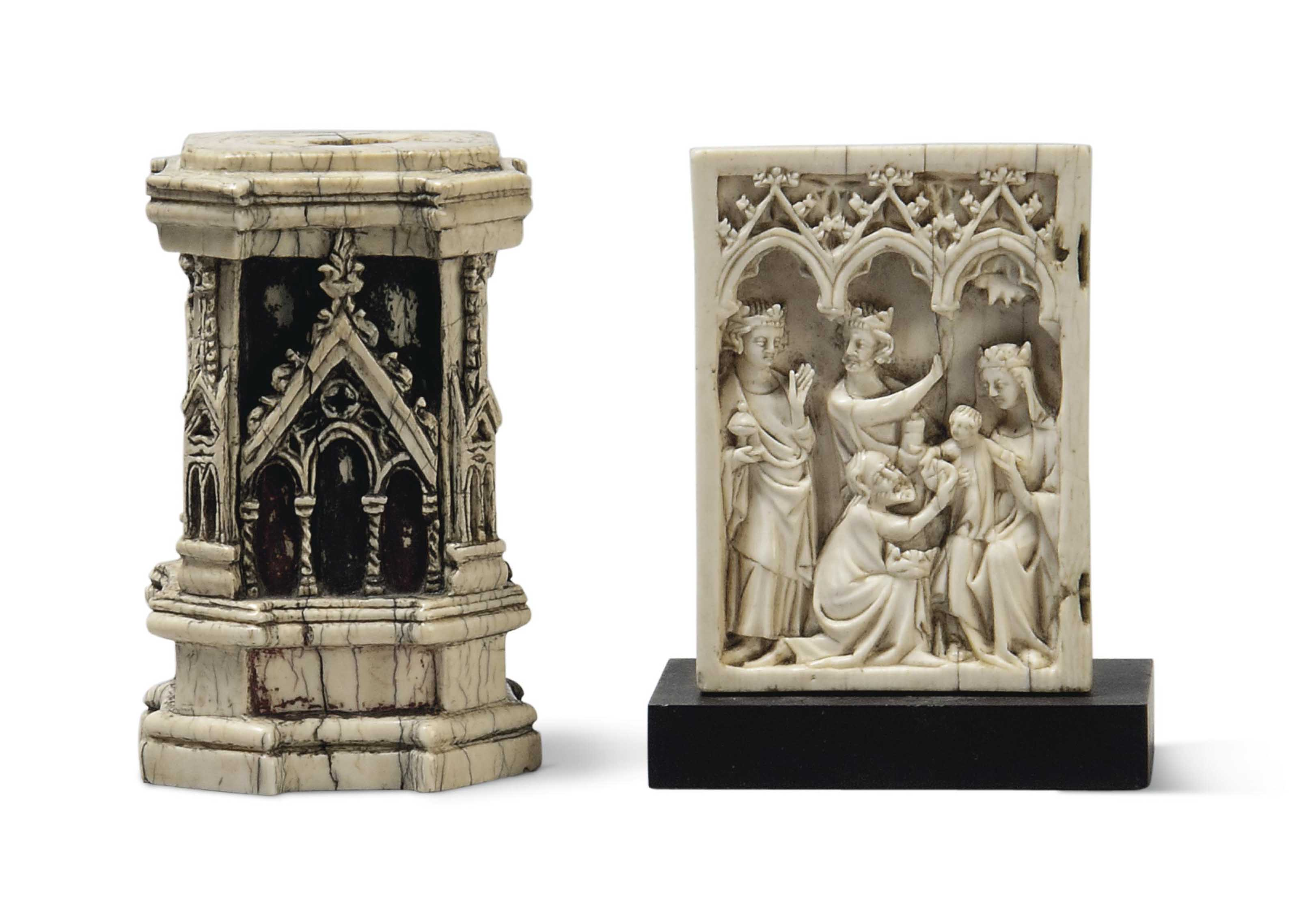 A CARVED IVORY DIPTYCH PANEL O