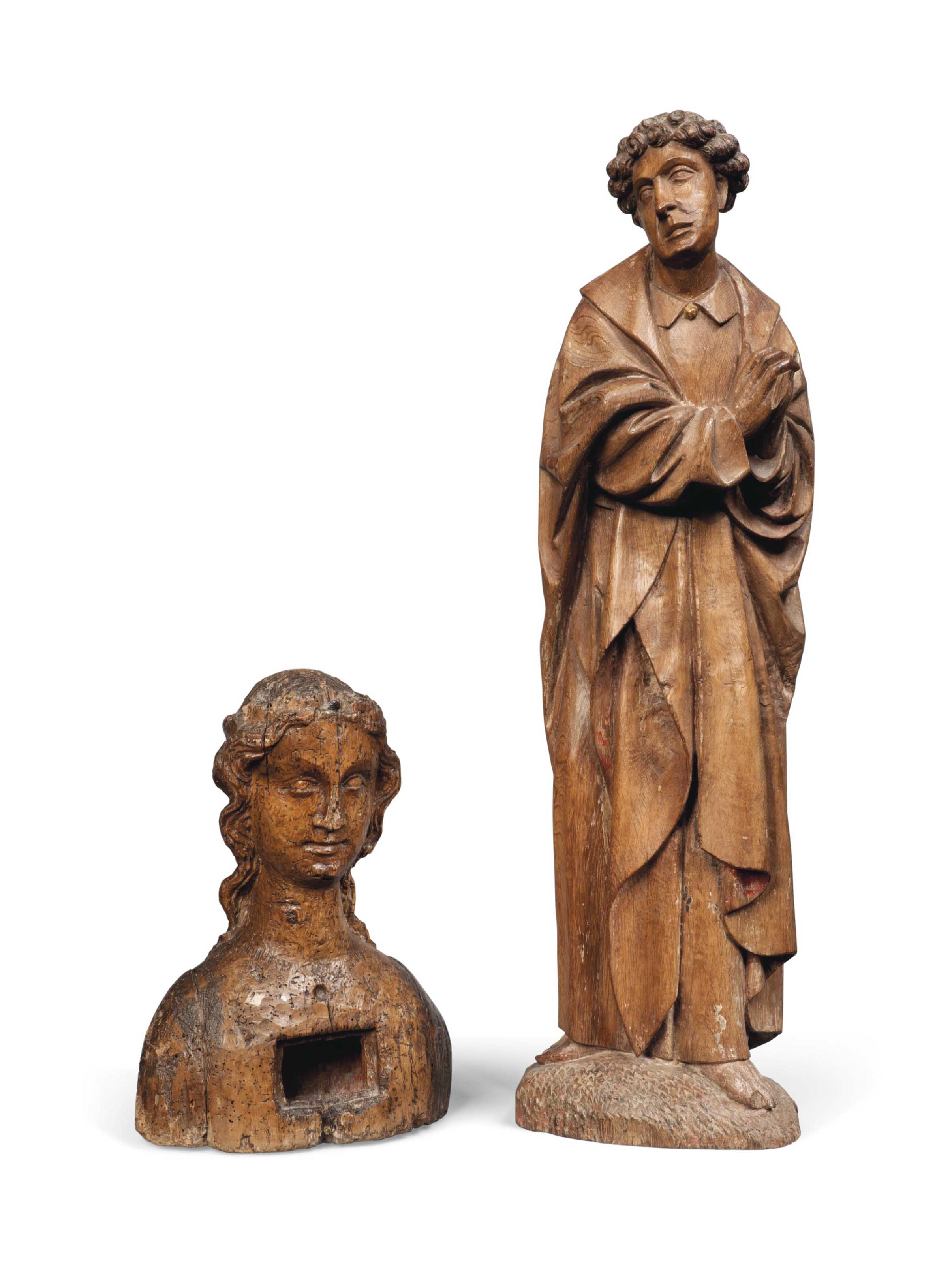 AN OAK FIGURE OF A MALE SAINT