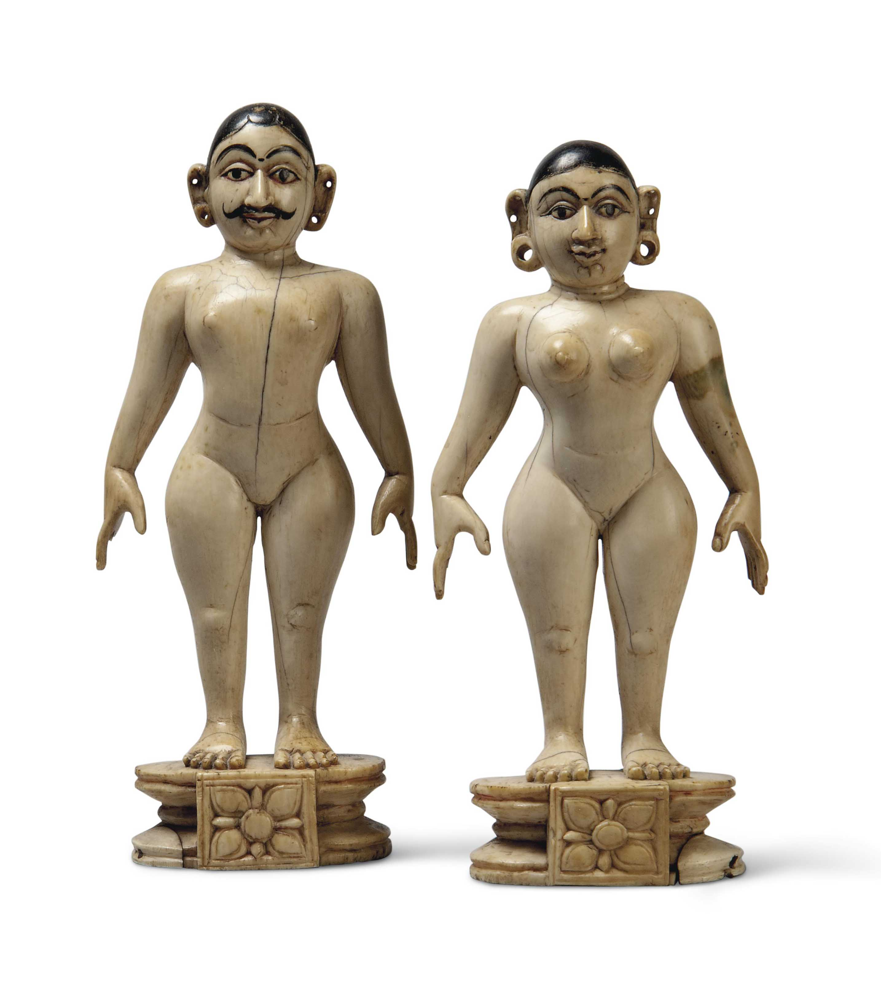 TWO PAINTED IVORY FIGURES OF A