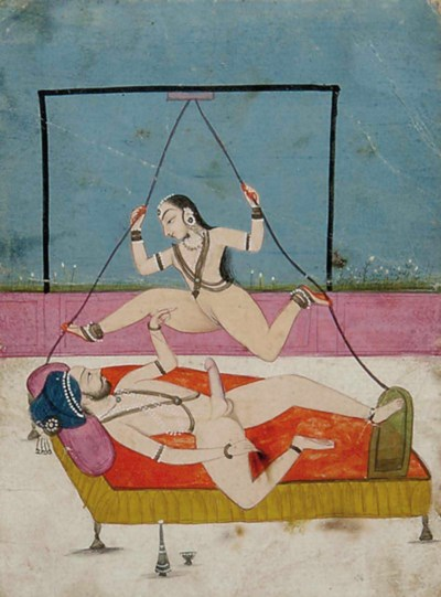 AN EROTIC PAINTING OF AN AMORO