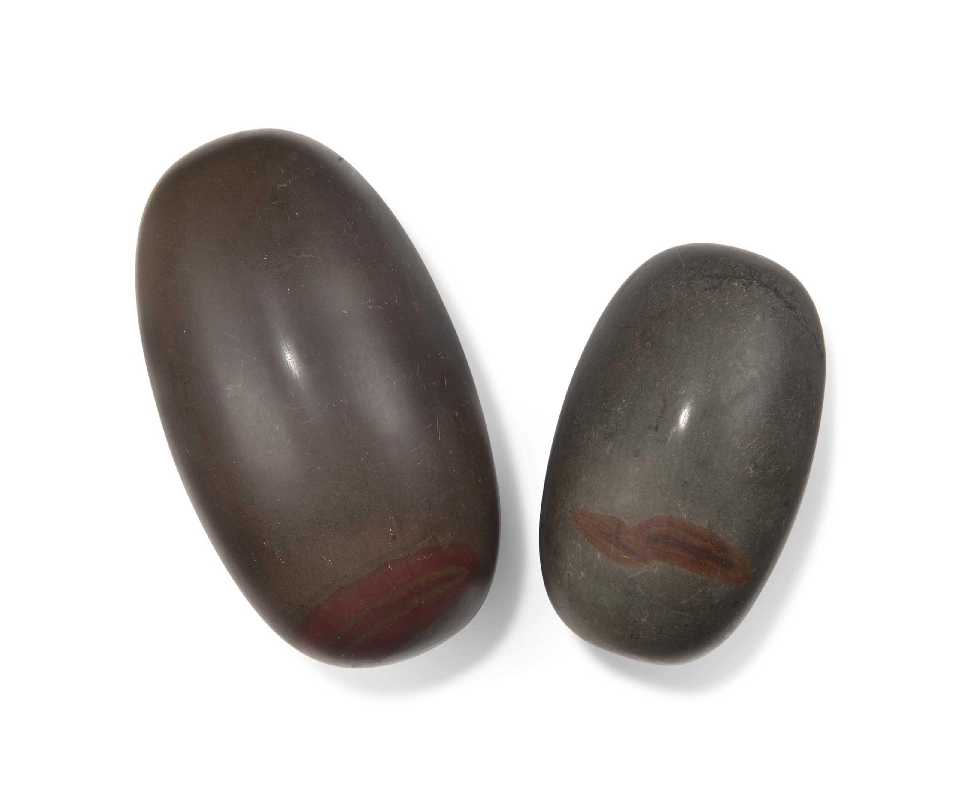 TWO LINGAM STONES