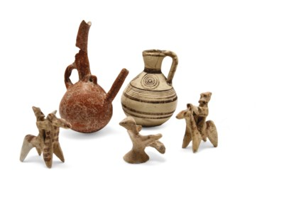 TWO POTTERY VESSELS AND THREE