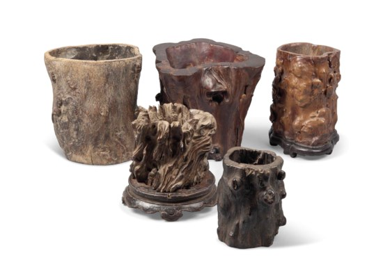 FIVE ROOTWOOD BRUSH POTS