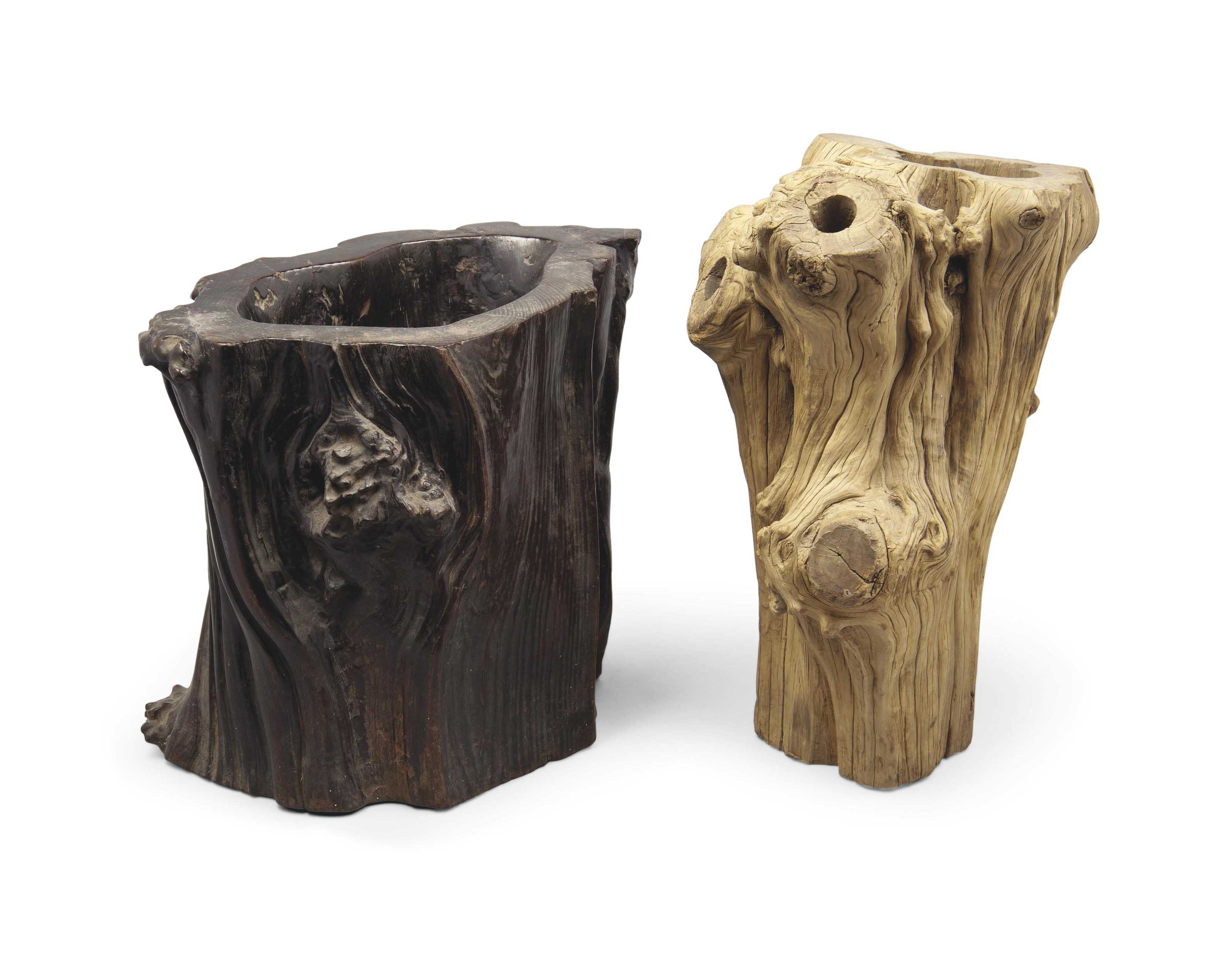 TWO LARGE ROOTWOOD SPECIMEN PO