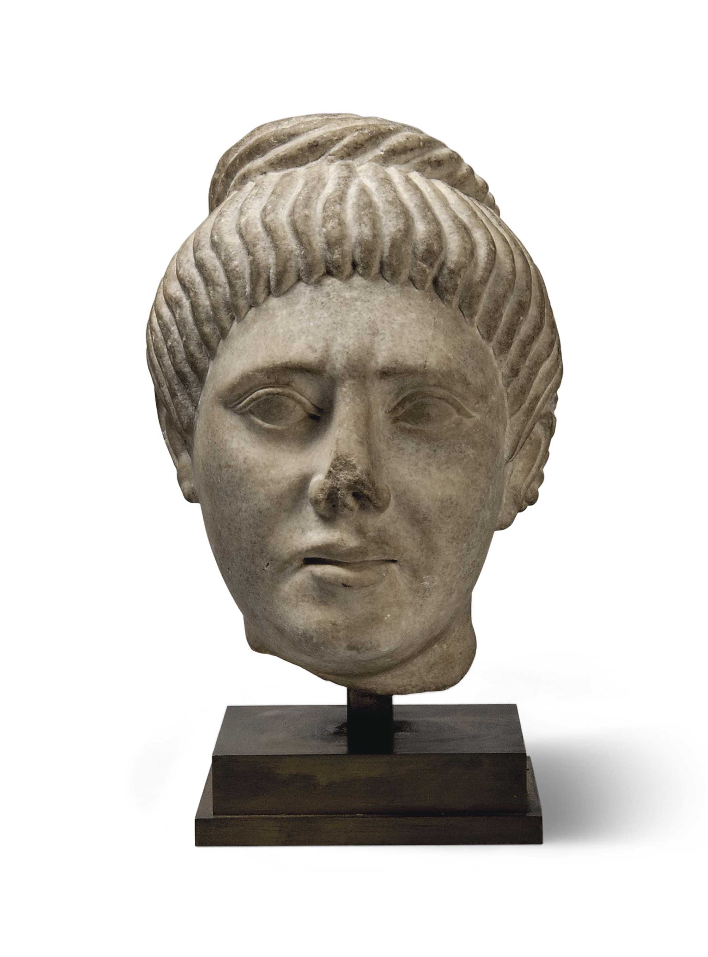 AN ANTIQUE-STYLE MARBLE HEAD O