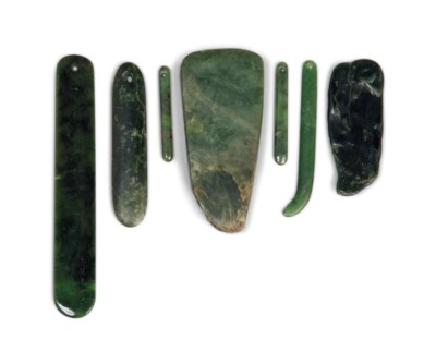 FIVE MAORI GREENSTONE PENDANTS