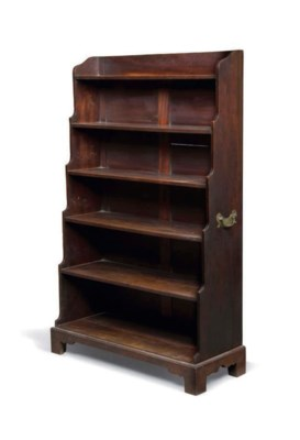 A MAHOGANY WATERFALL BOOKCASE