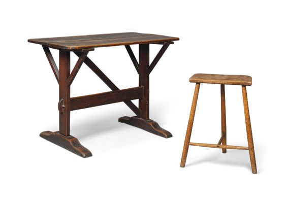 A PINE 'TAVERN TABLE' AND AN A