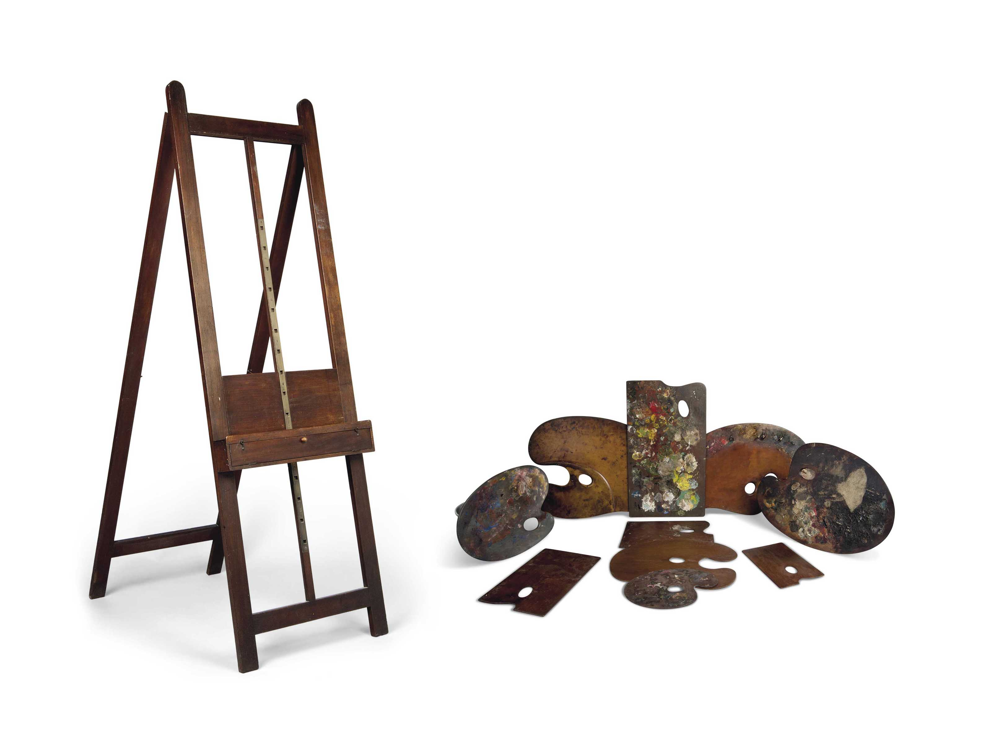 A MAHOGANY ARTISTS' EASEL AND
