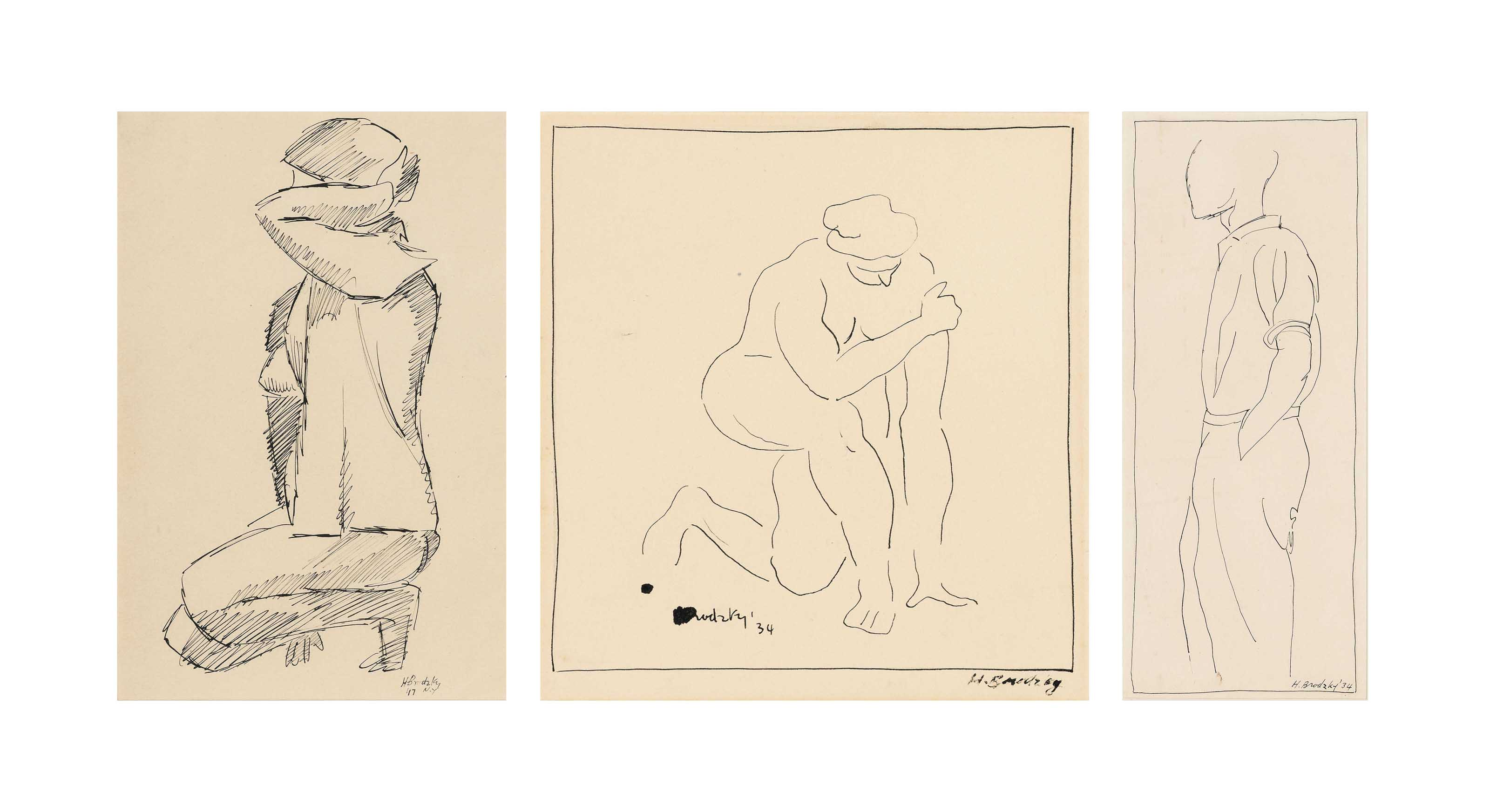 Female nude; Kneeling woman with a hat; and Standing man