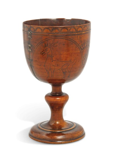 A PEARWOOD DECORATED STANDING