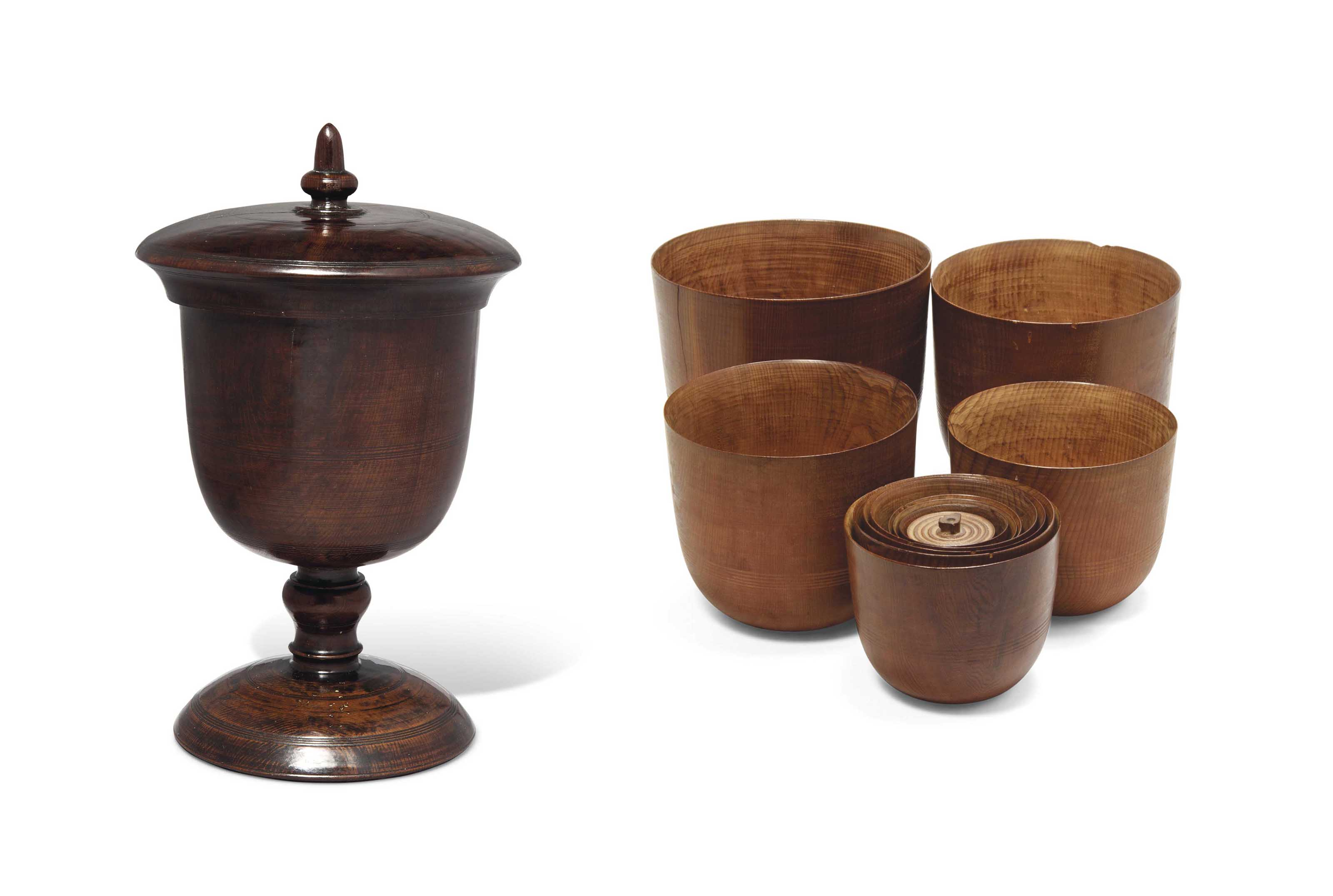 A CEDARWOOD GOBLET AND ELEVEN