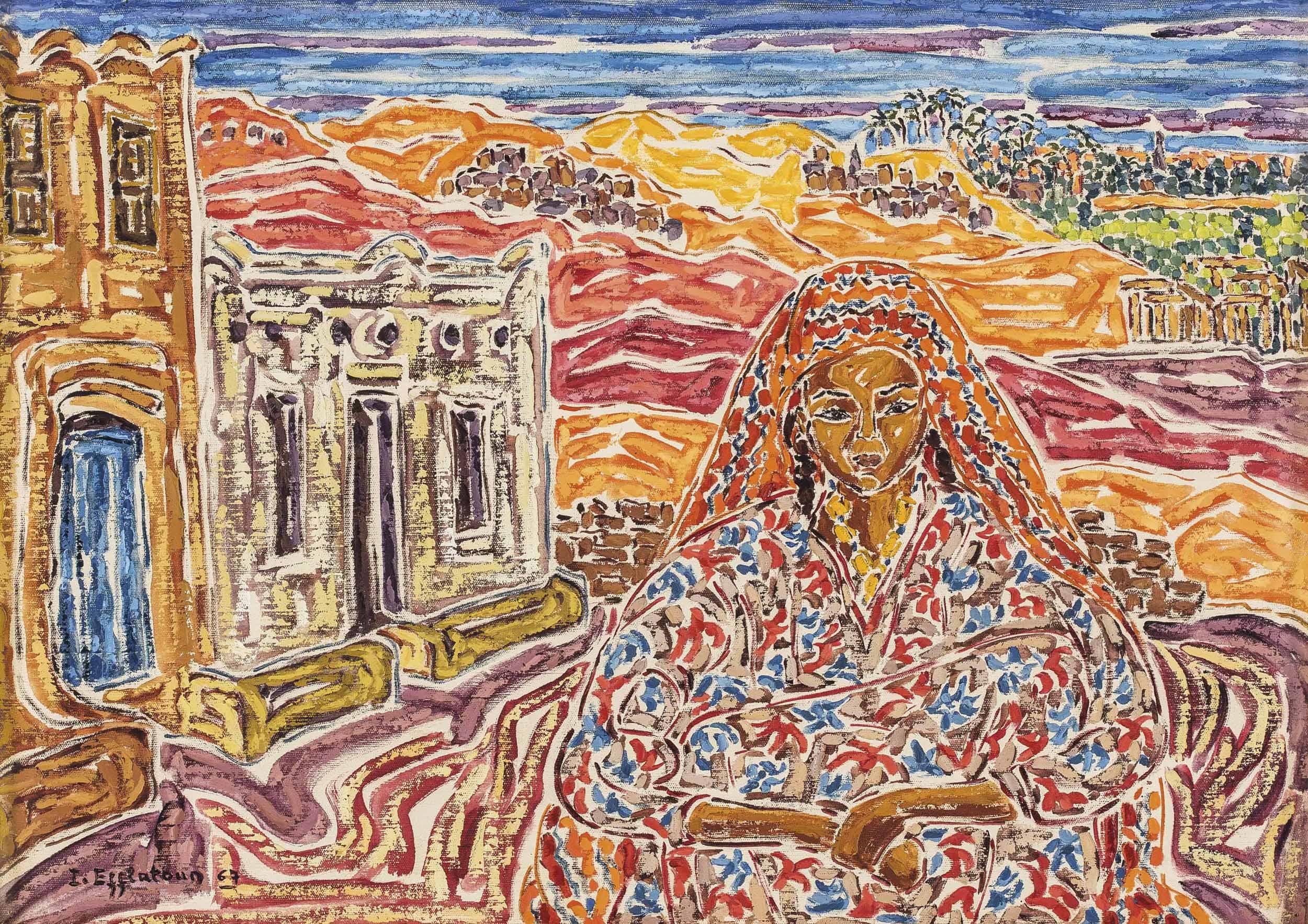 Inji Efflatoun (Egyptian, 1924-1989) | Fille de Thèbes (Girl from ...