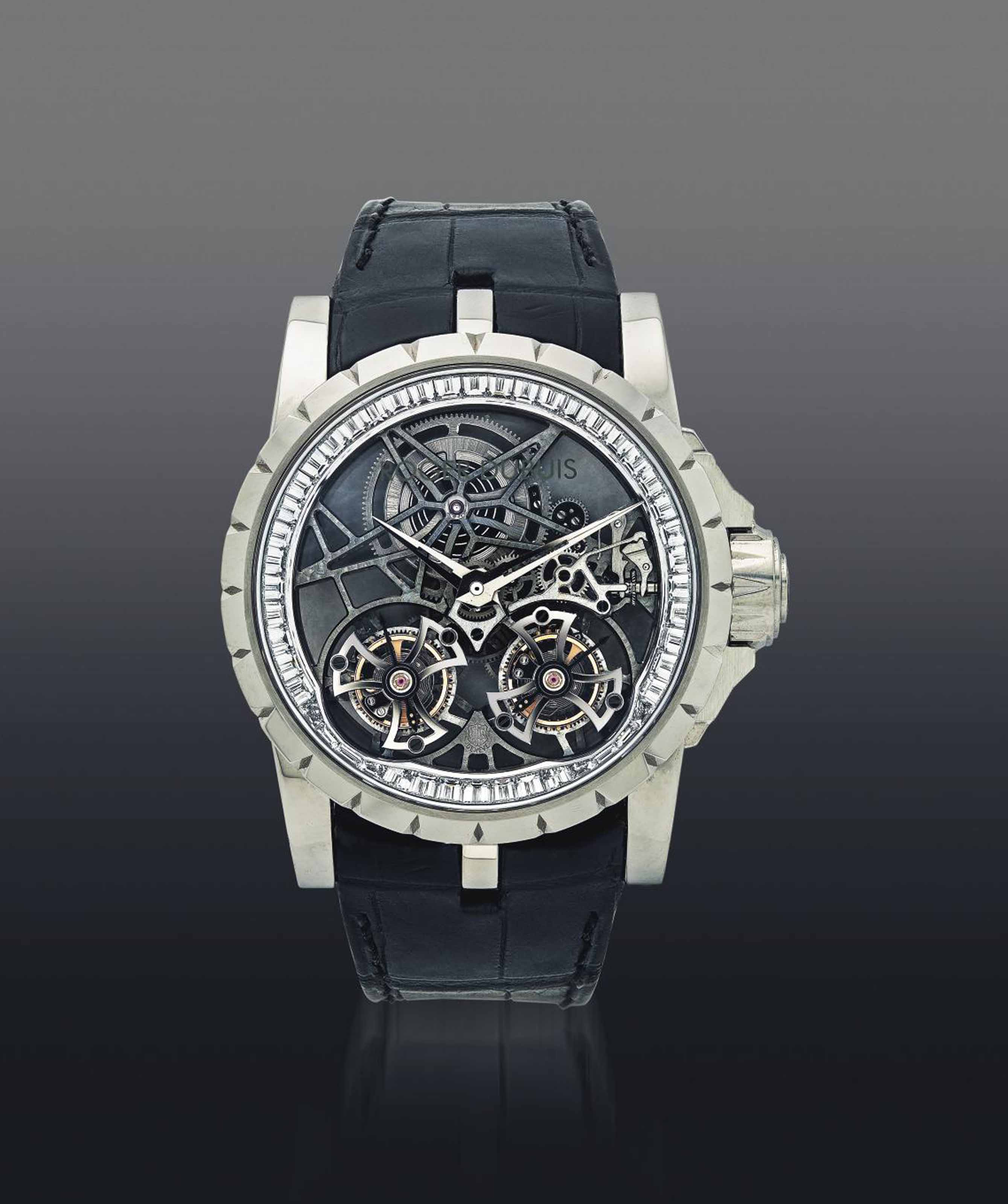 ROGER DUBUIS. AN EXTREMELY FINE AND VERY RARE 18K WHITE GOLD AND DIAMOND-SET LIMITED EDITION SKELETONIZED DOUBLE TOURBILLON WRISTWATCH