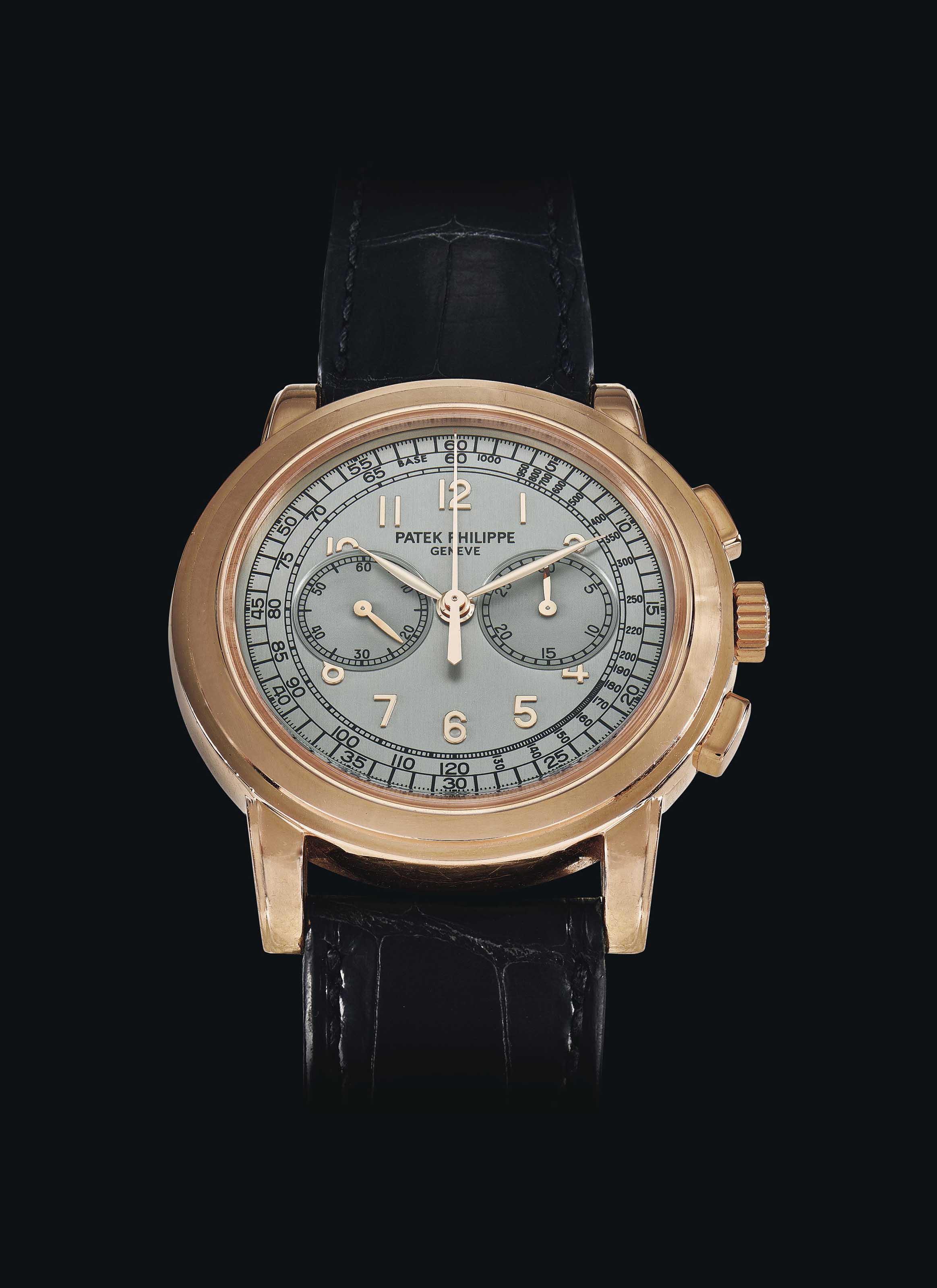 Patek philippe an 18k pink gold chronograph wristwatch signed patek philippe geneve ref for Patek philippe geneve