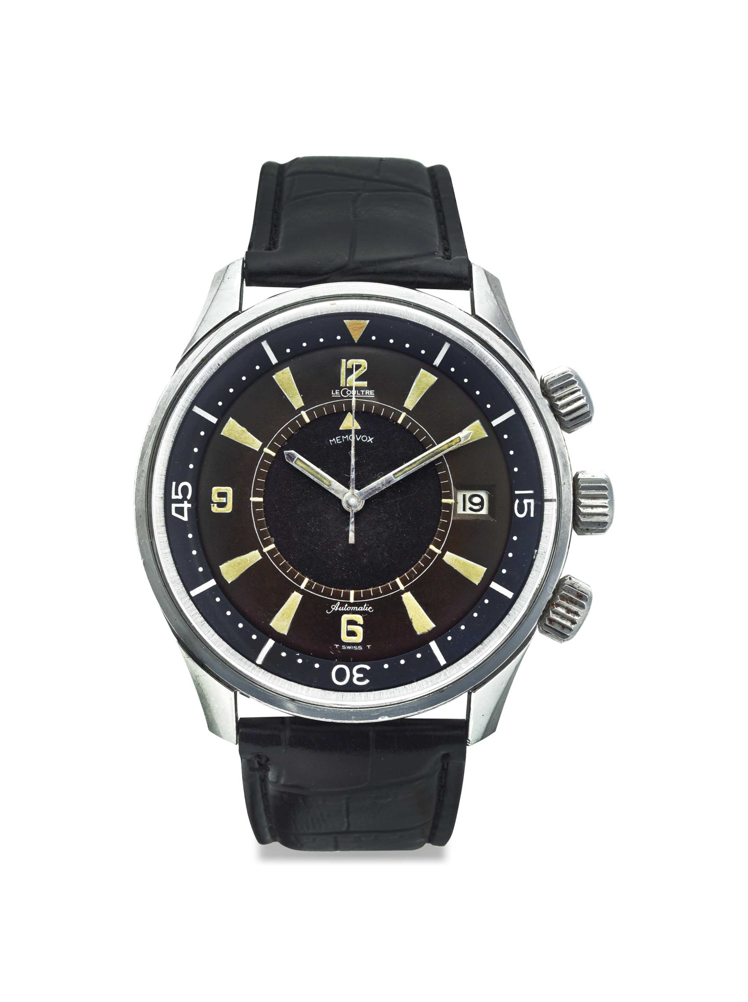 JAEGER-LECOULTRE. A STAINLESS STEEL AUTOMATIC DIVER'S WRISTWATCH WITH SWEEP CENTRE SECONDS, ALARM AND DATE