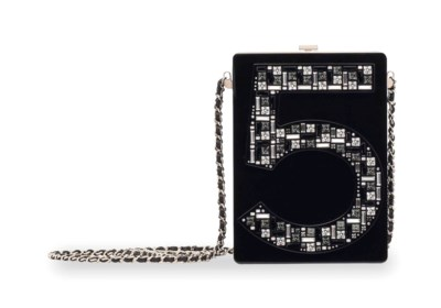 A BLACK LUCITE & CRYSTAL NO. 5