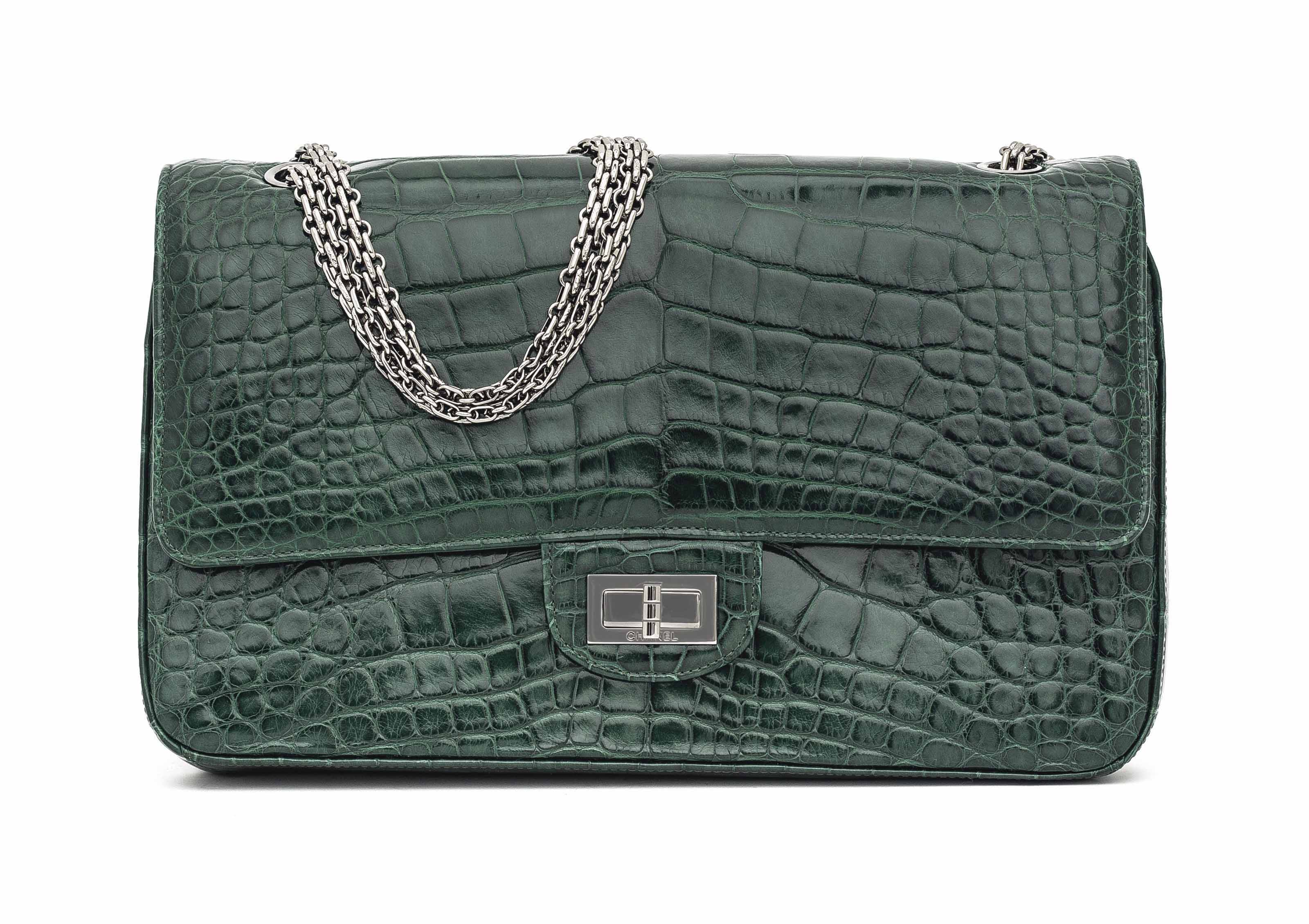 A MATTE DARK GREEN CROCODILE 2.55 DOUBLE FLAP BAG 225 WITH SILVER HARDWARE