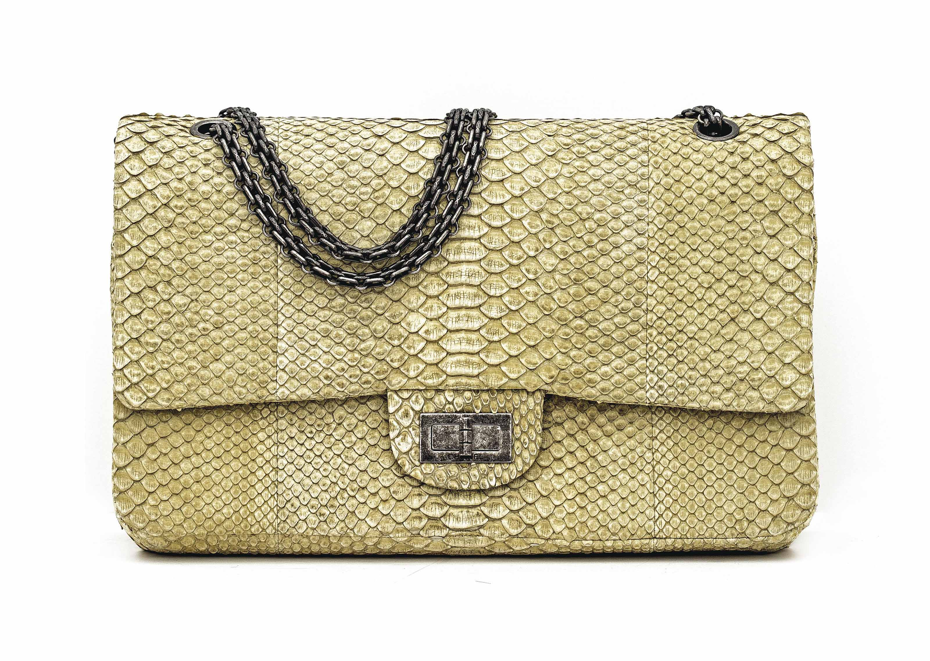 A PALE YELLOW PYTHON 2.55 DOUBLE FLAP BAG 227 WITH AGED SILVER HARDWARE