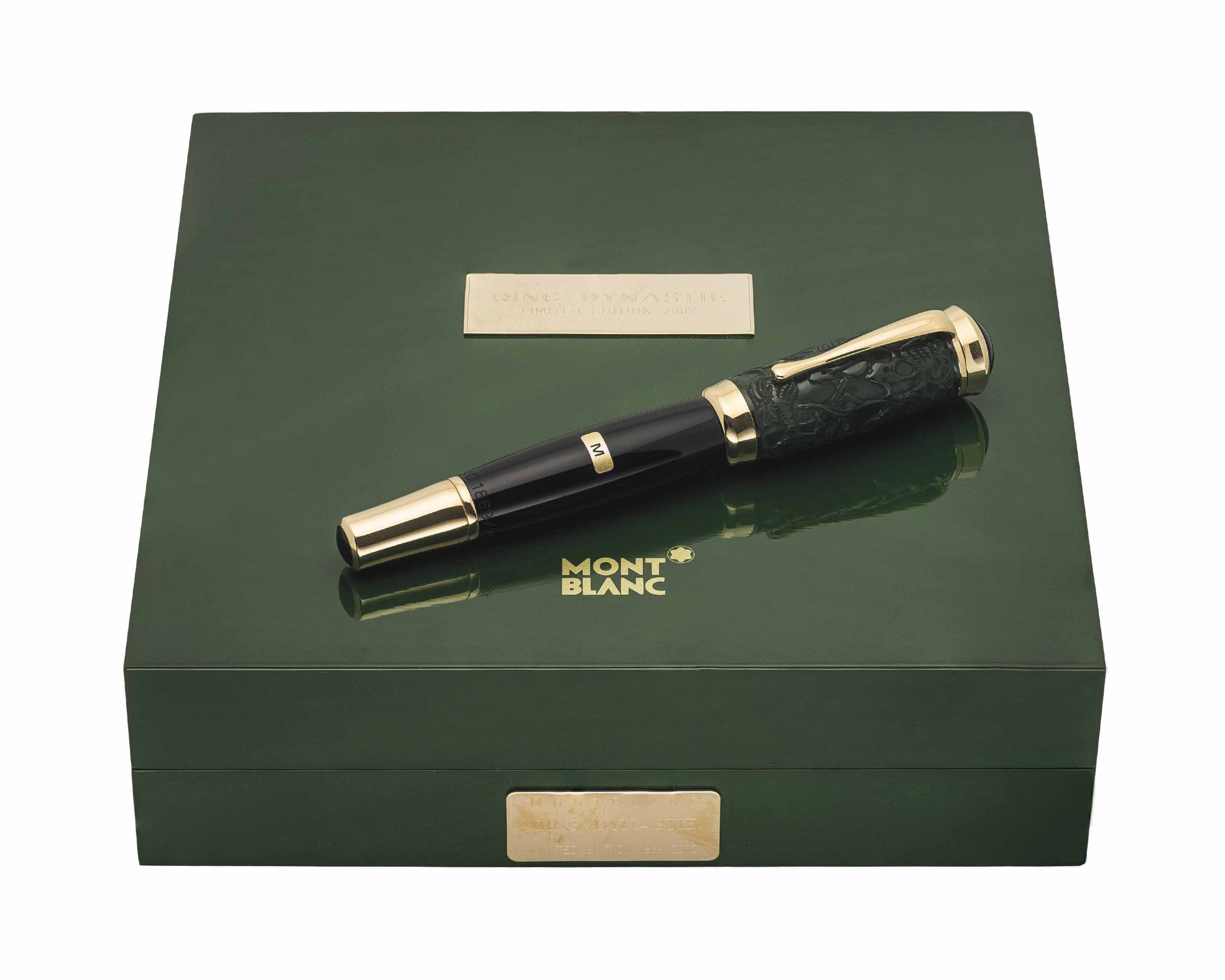 MONTBLANC. A JADE LIMITED EDITION FOUTAIN PEN WITH ORIGINAL PRESENTATION BOX