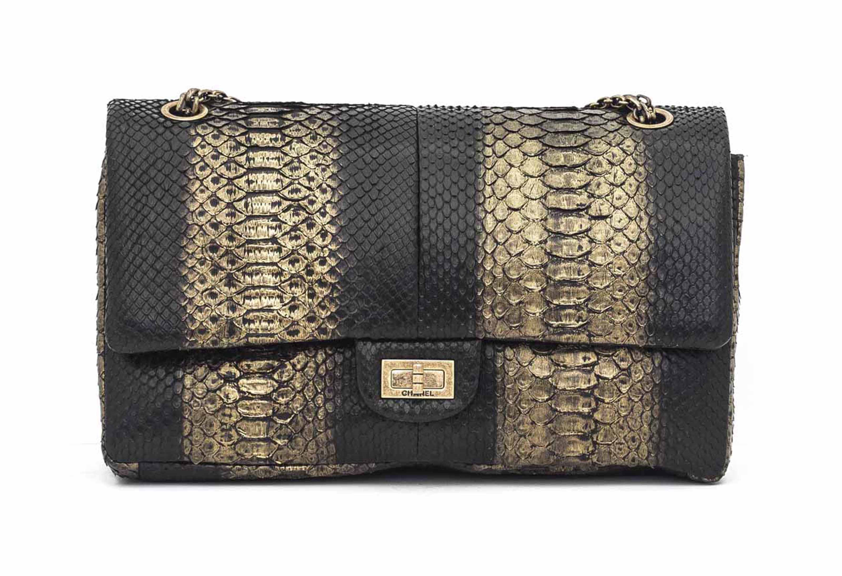 A BLACK & GOLD PYTHON 2.55 DOUBLE FLAP BAG 225 WITH AGED GOLD HARDWARE