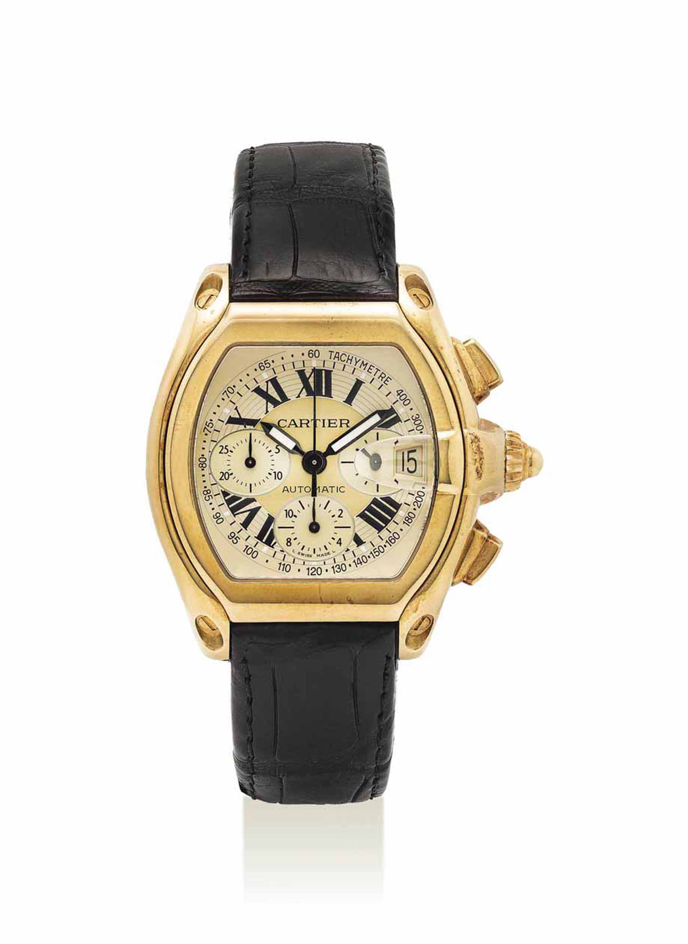 CARTIER. AN 18K GOLD AUTOMATIC CHRONOGRAPH WRISTWATCH WITH DATE