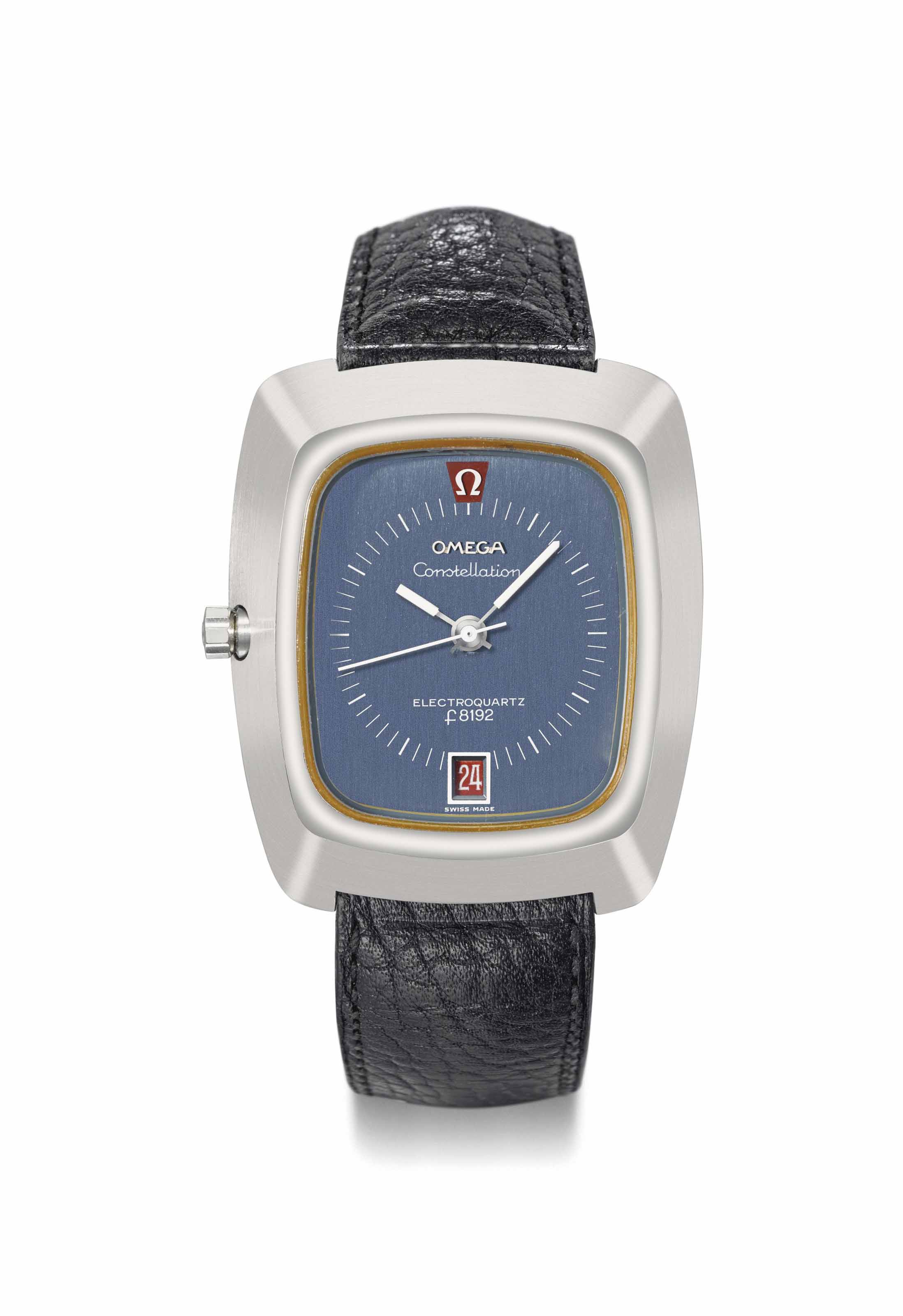 Omega. A large stainless steel rectangular-shaped wristwatch with sweep centre seconds, blue dial and red date