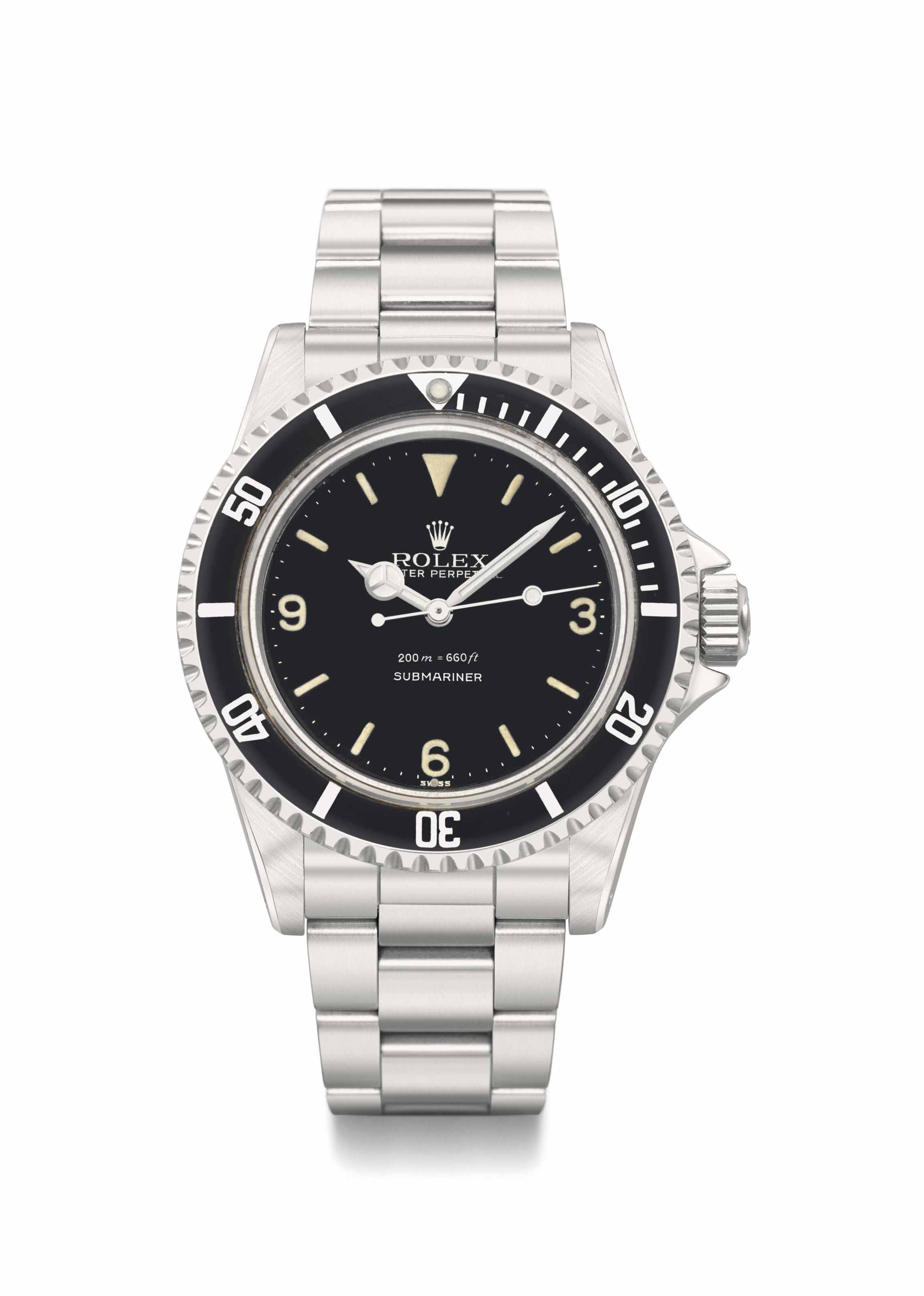 Rolex. A very rare and fine stainless steel automatic wristwatch with sweep centre seconds, black lacquer Explorer 3-6-9 dial, pointed crown guards, bracelet and box
