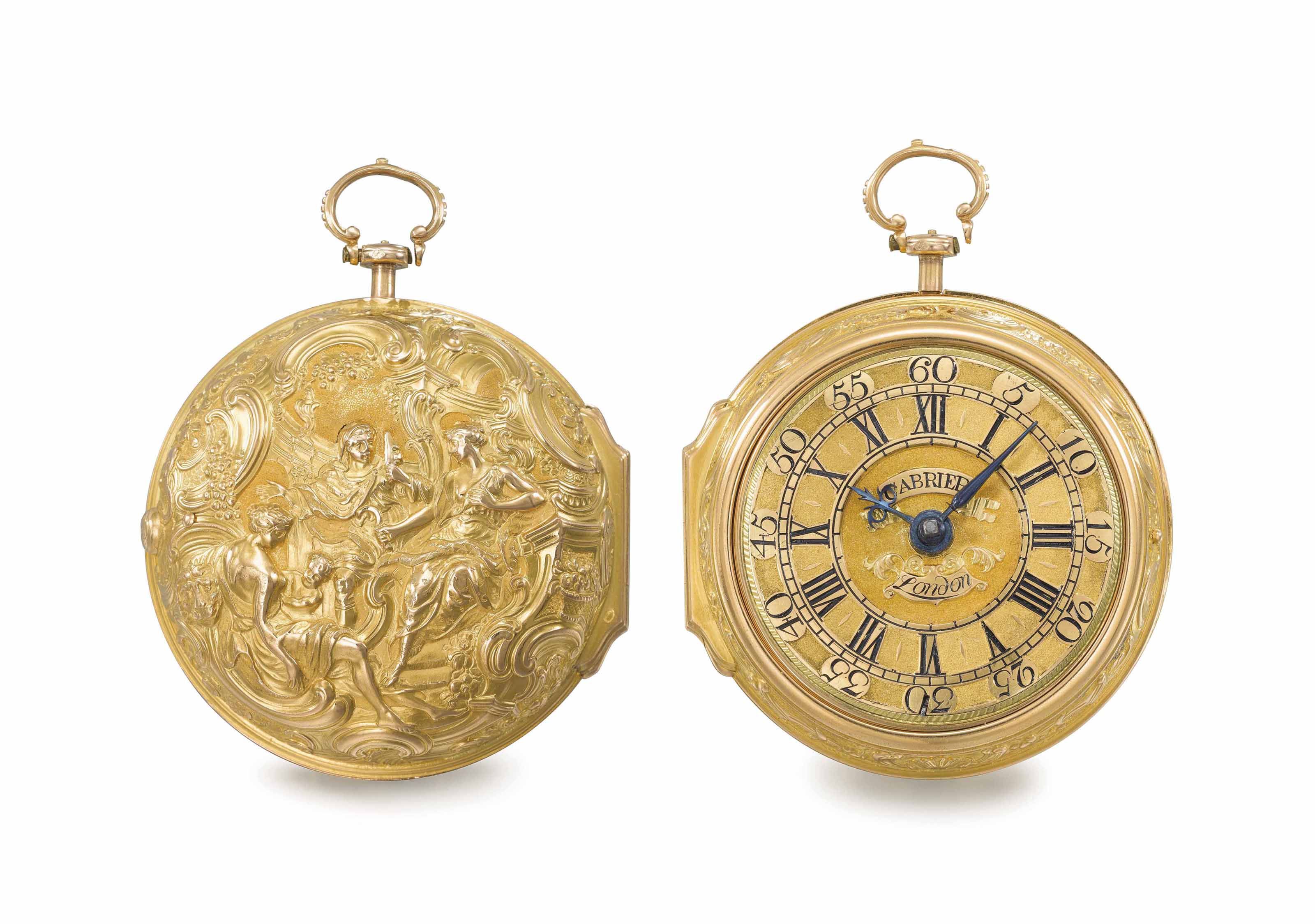 Cabrier. A fine 18K gold pair case verge watch, repoussé scene attributed to George Michael Moser, with outer protective case