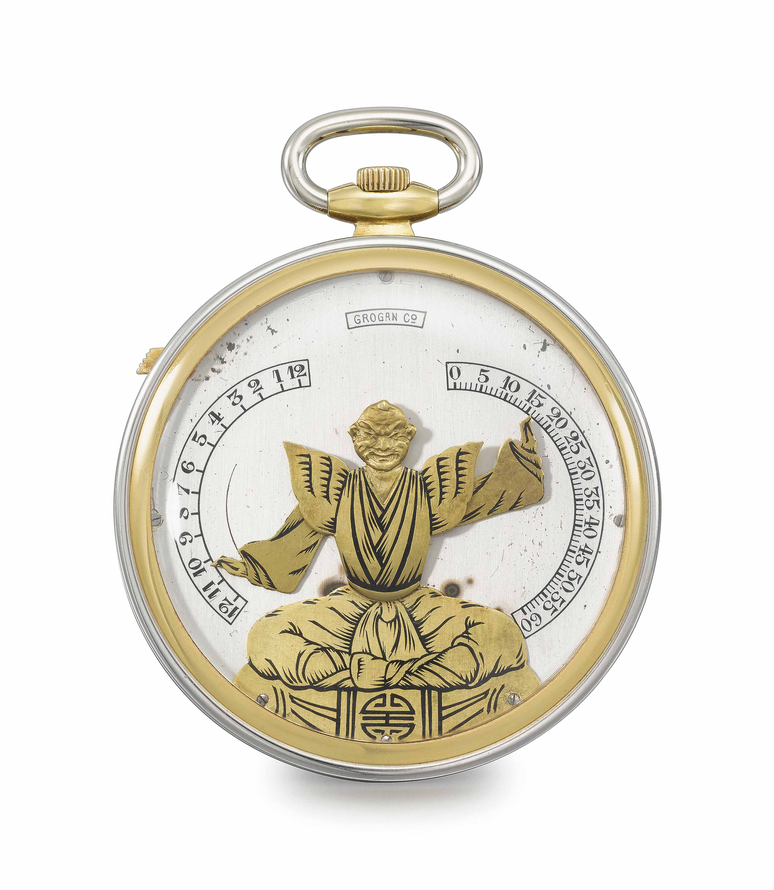 """Verger Frères, made for Grogan Co. A fine, rare and unusual 18K yellow gold and platinum openface """"bras en l'air"""" keyless lever dress watch"""