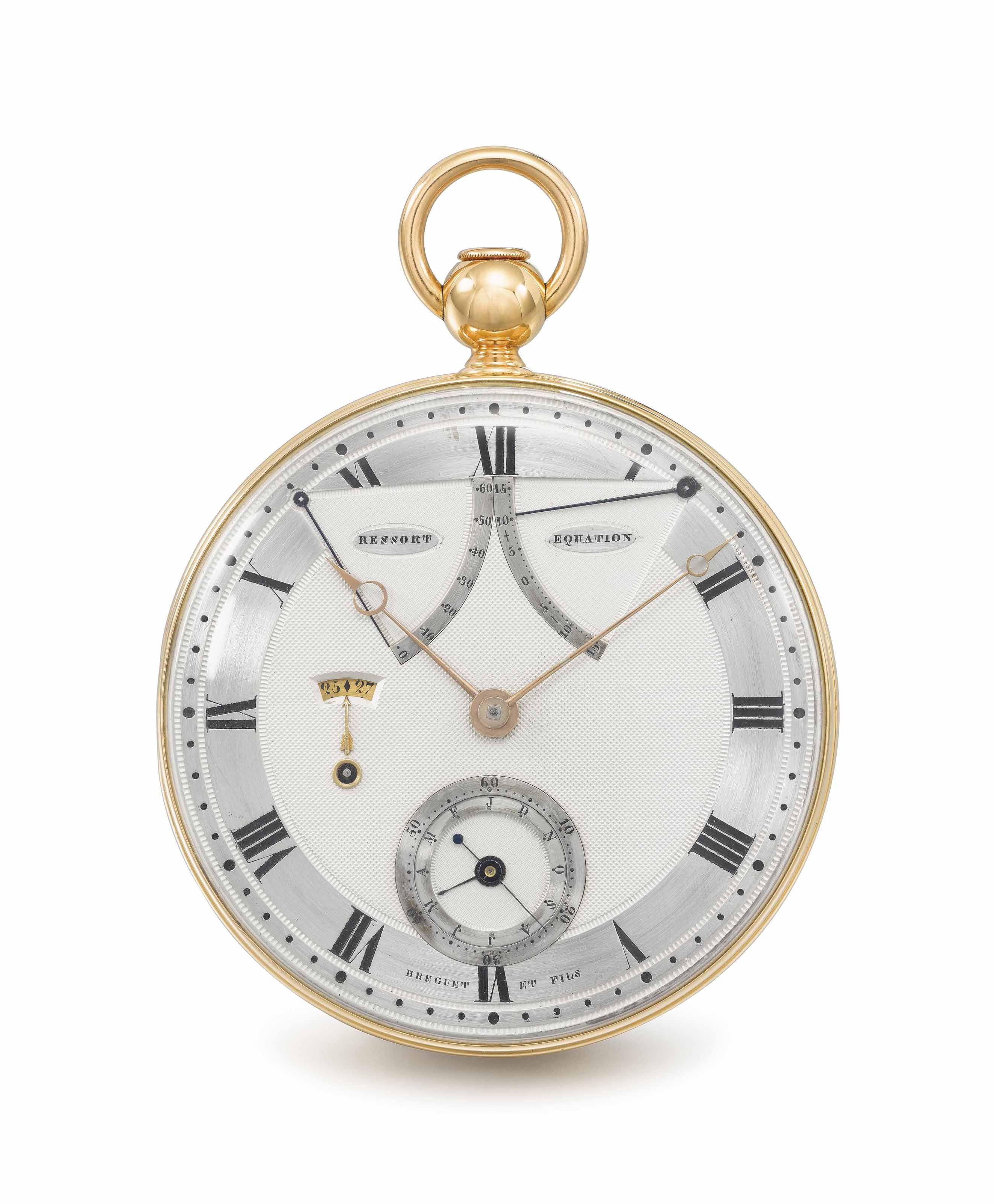 """Breguet, No. 217 """"montre perpétuelle à répétition à quantième de mois et dates et équation, échappement libre à ancre"""". An exceptional and historically important, probably unique 18K gold self-winding à toc quarter repeating lever watch with sectoral equation of time, day and month calendar and sectoral power-reserve indication, constructed on the principals of the garde-temps, in a Desoutter gold tooled red morocco fitted box No. 217"""