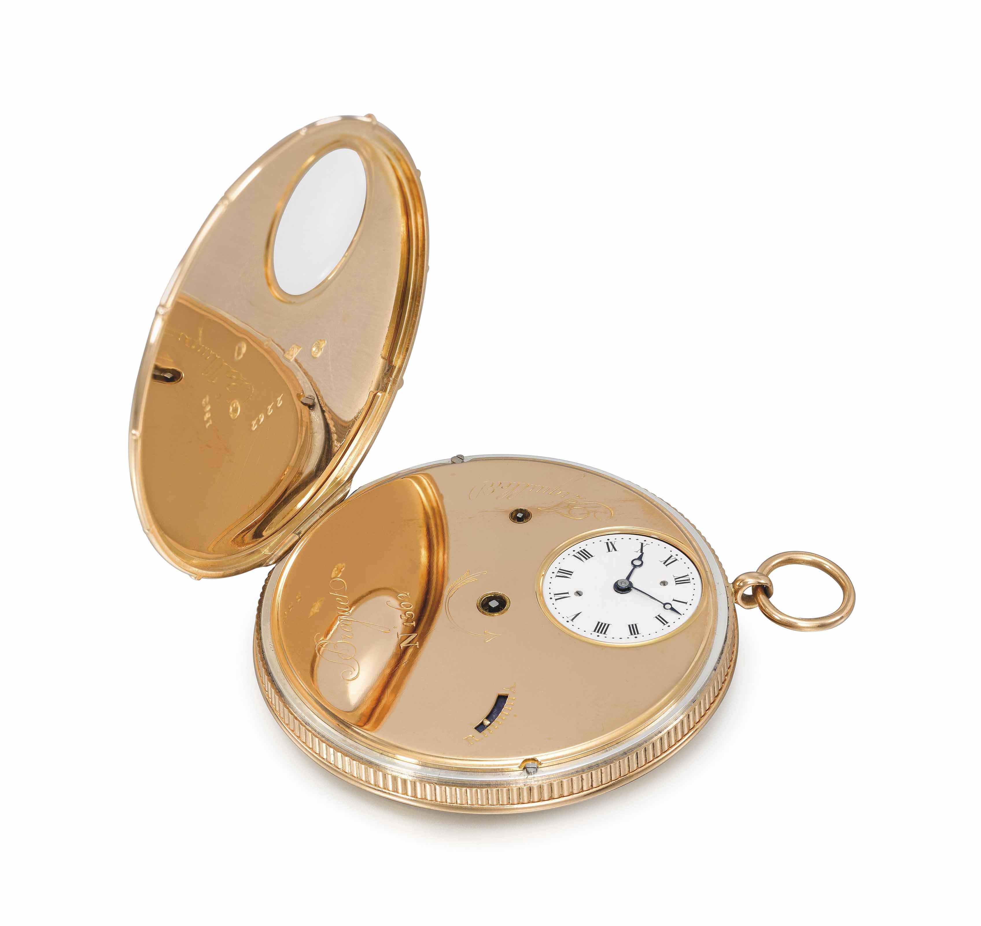 """Breguet, Paris, No. 1362 """"Souscription Moyenne à Tact"""". An extremely rare, large and slim 18K Gold à Tact Watch with Ruby Cylinder Escapement, in a Breguet Gold-Tooled Red Morocco Fitted Box No. 1362"""