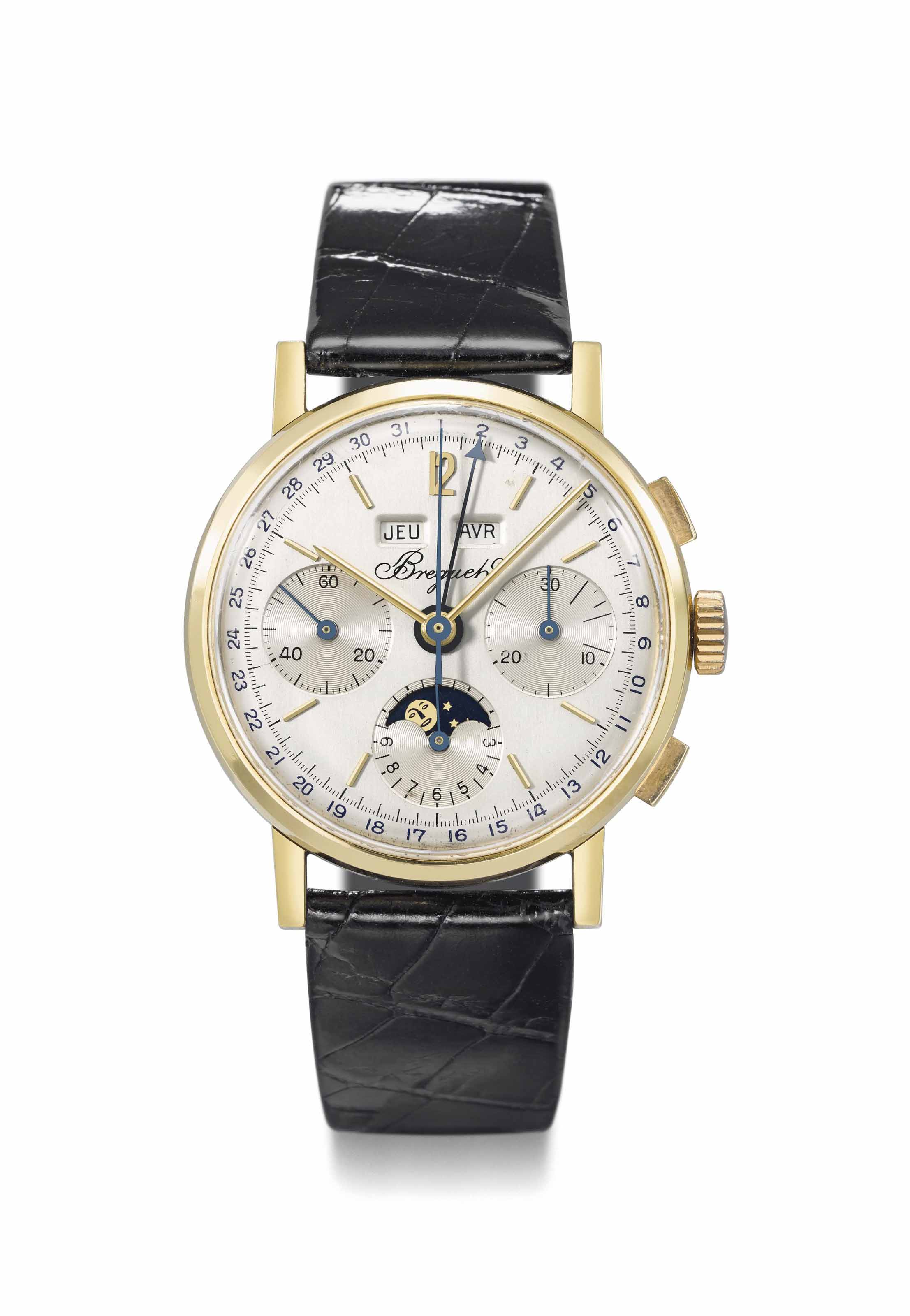 Breguet. A very fine, rare and attractive 18K gold triple calendar chronograph wristwatch with moon phases